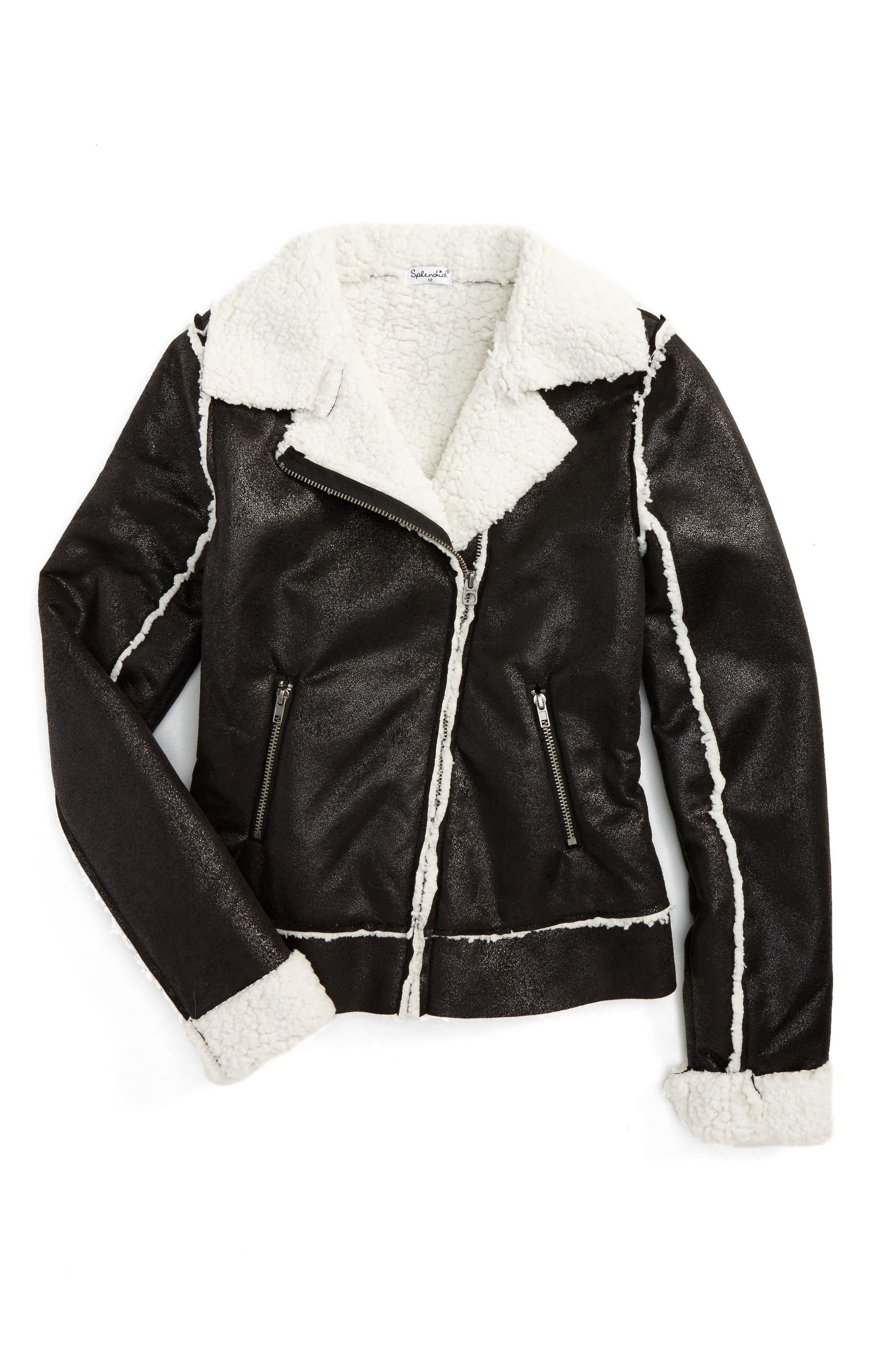 Fleece Moto Jacket,                         Main,                         color, Black