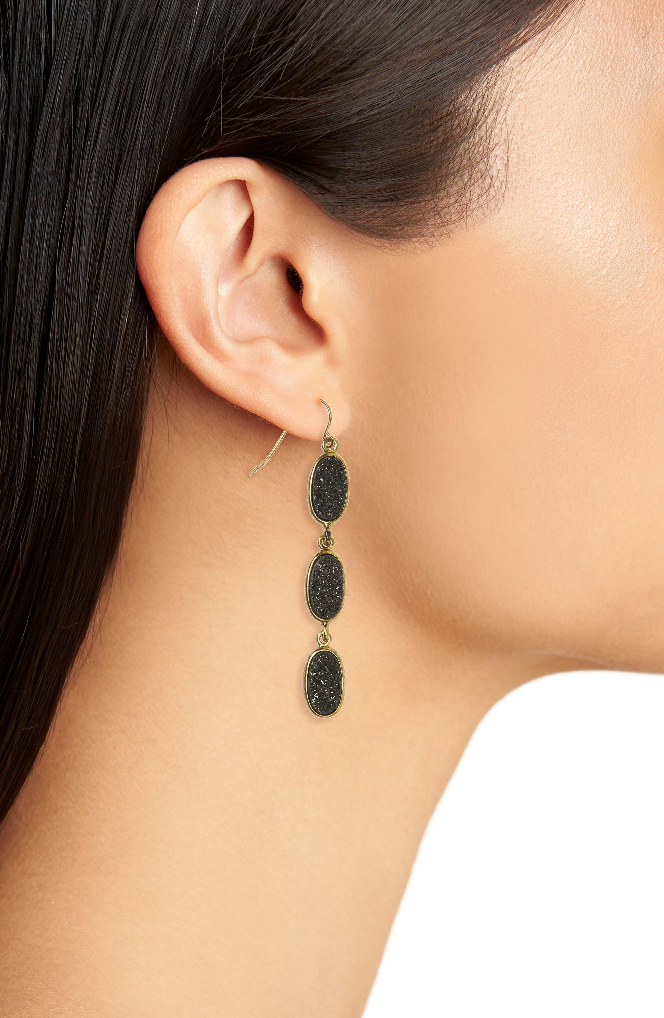 Drusy Drop Earrings,                             Alternate thumbnail 2, color,                             Black- Gold