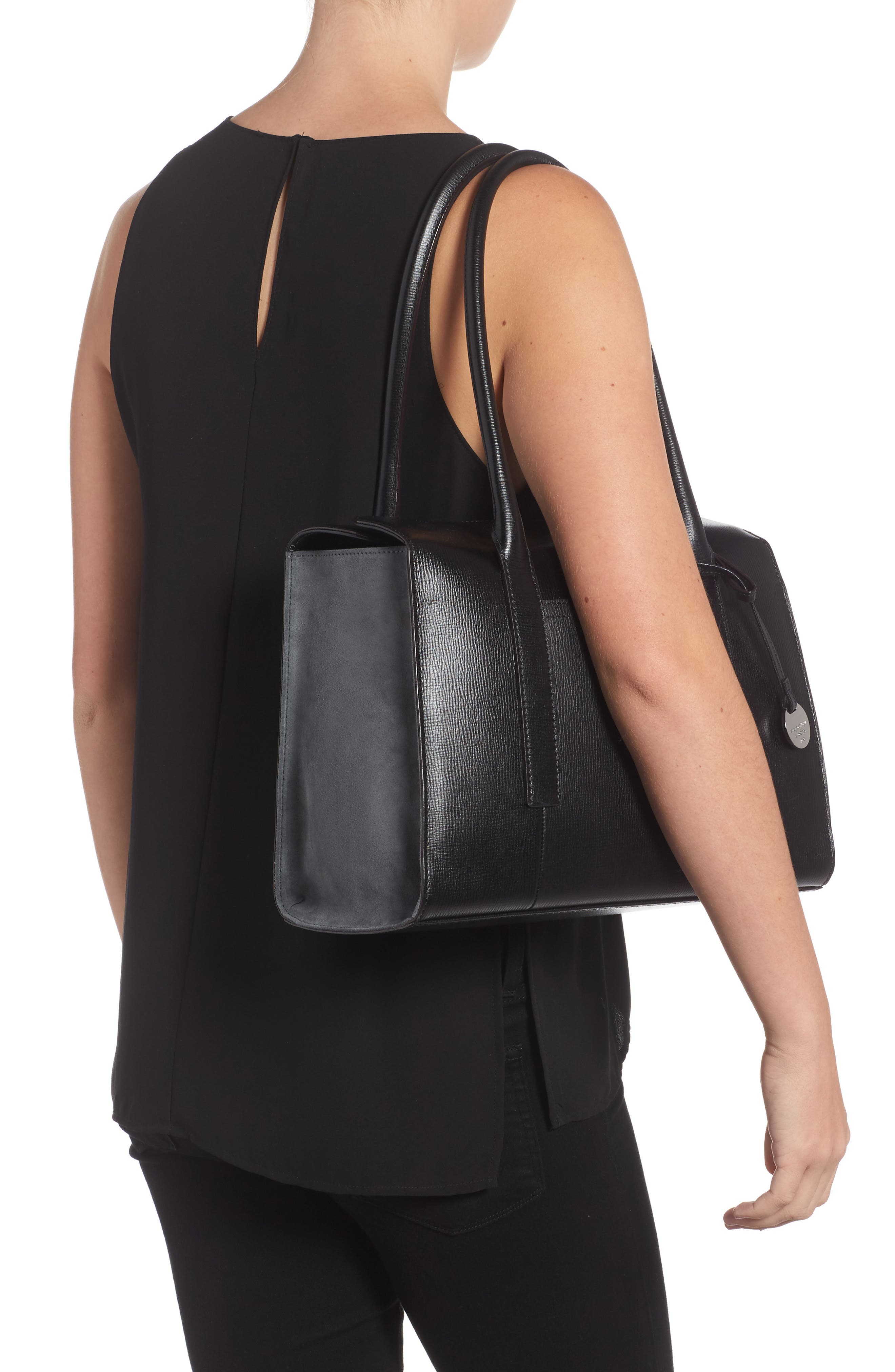 Business Chic Paula RFID-Protected Coated Leather & Suede Brief Shoulder Bag,                             Alternate thumbnail 2, color,                             Black