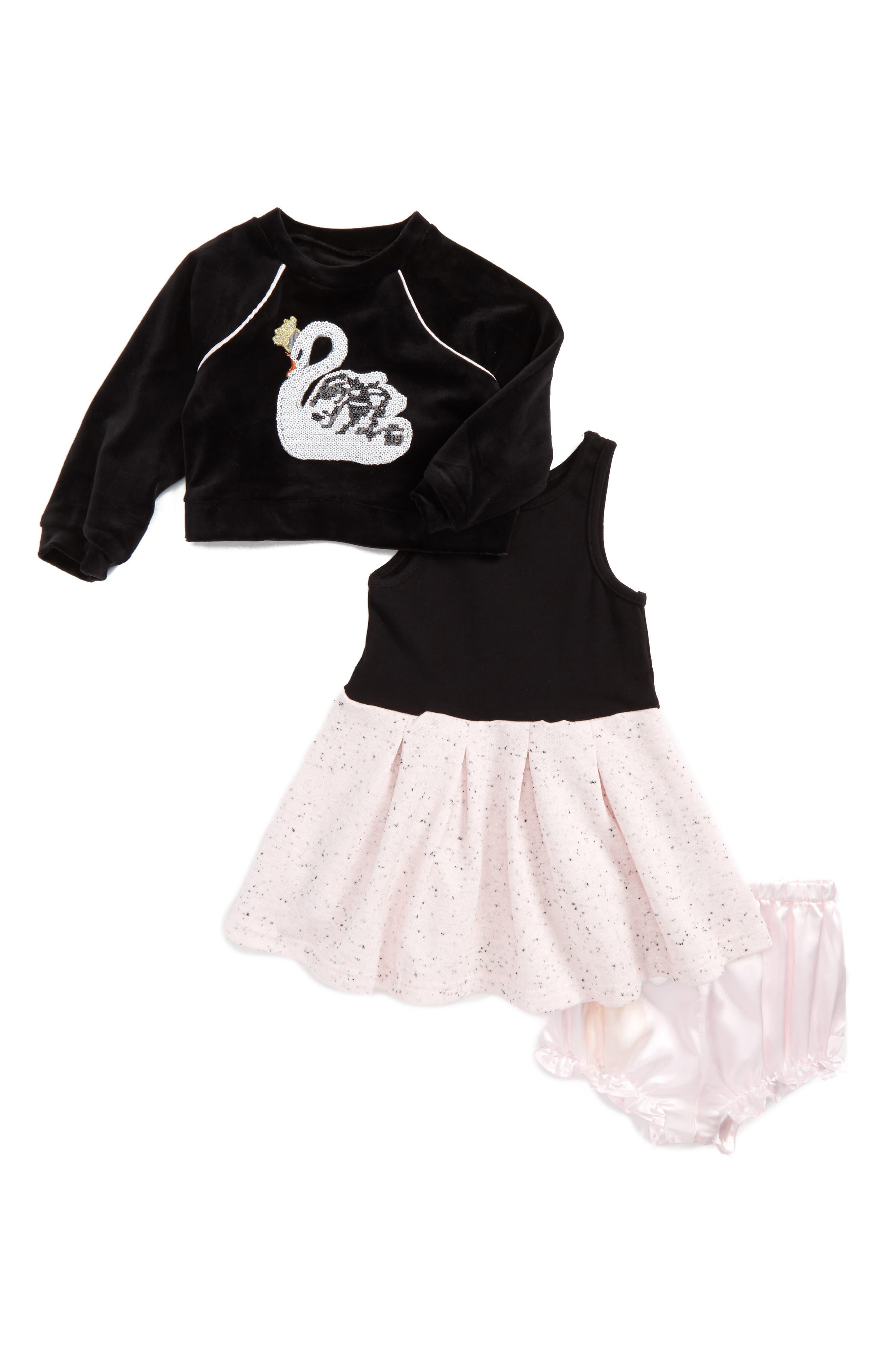 Swan Dress,                         Main,                         color, Black