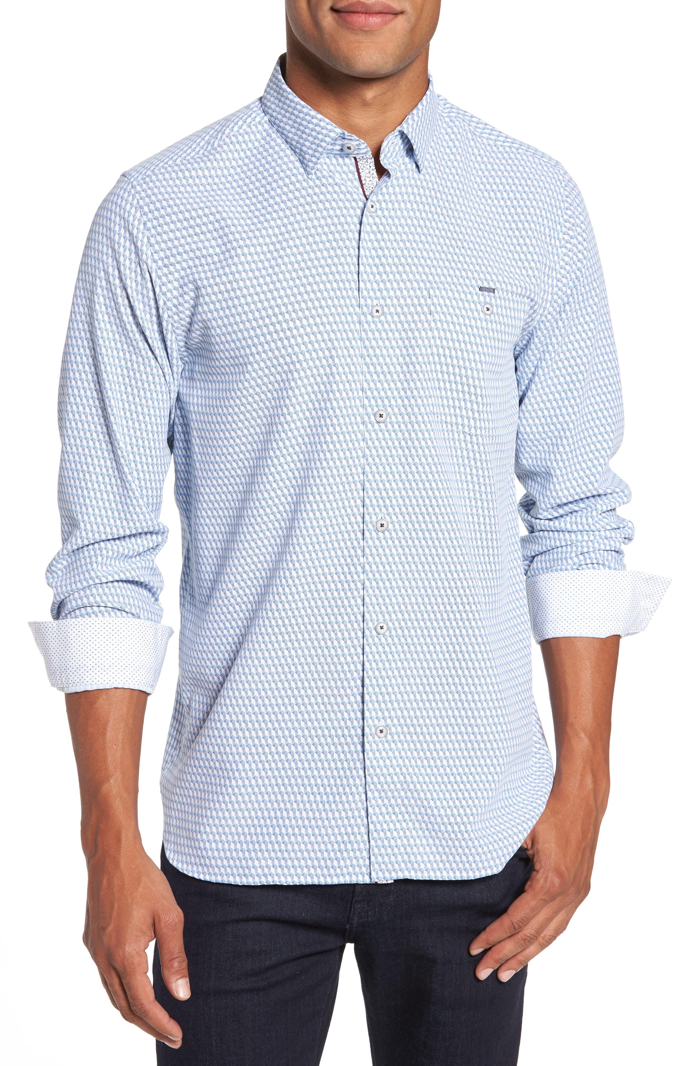 Wyne Slim Fit Polynosic Geo Print Sport Shirt,                             Main thumbnail 1, color,                             White