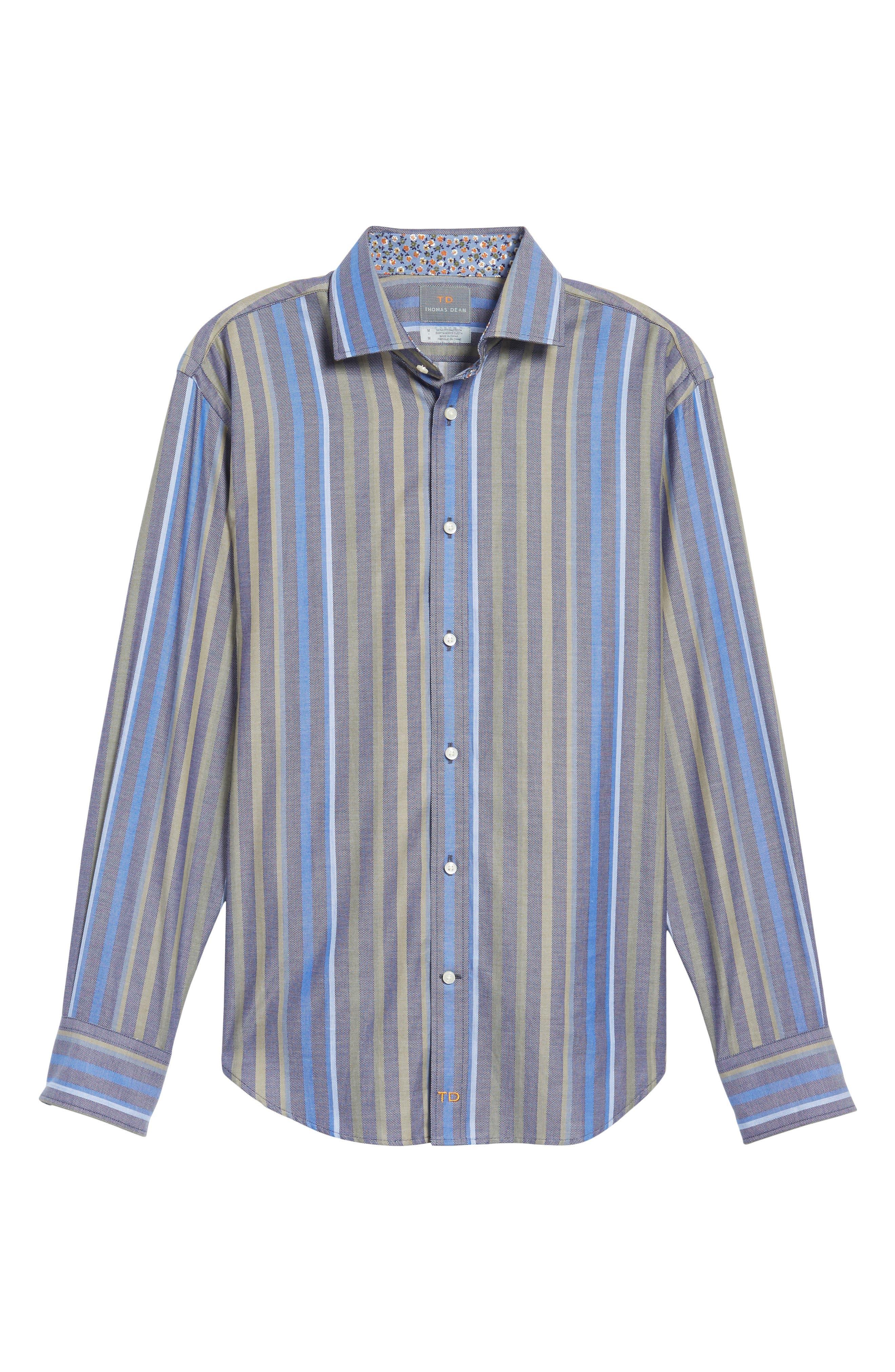 Alternate Image 6  - Thomas Dean Regular Fit Stripe Sport Shirt