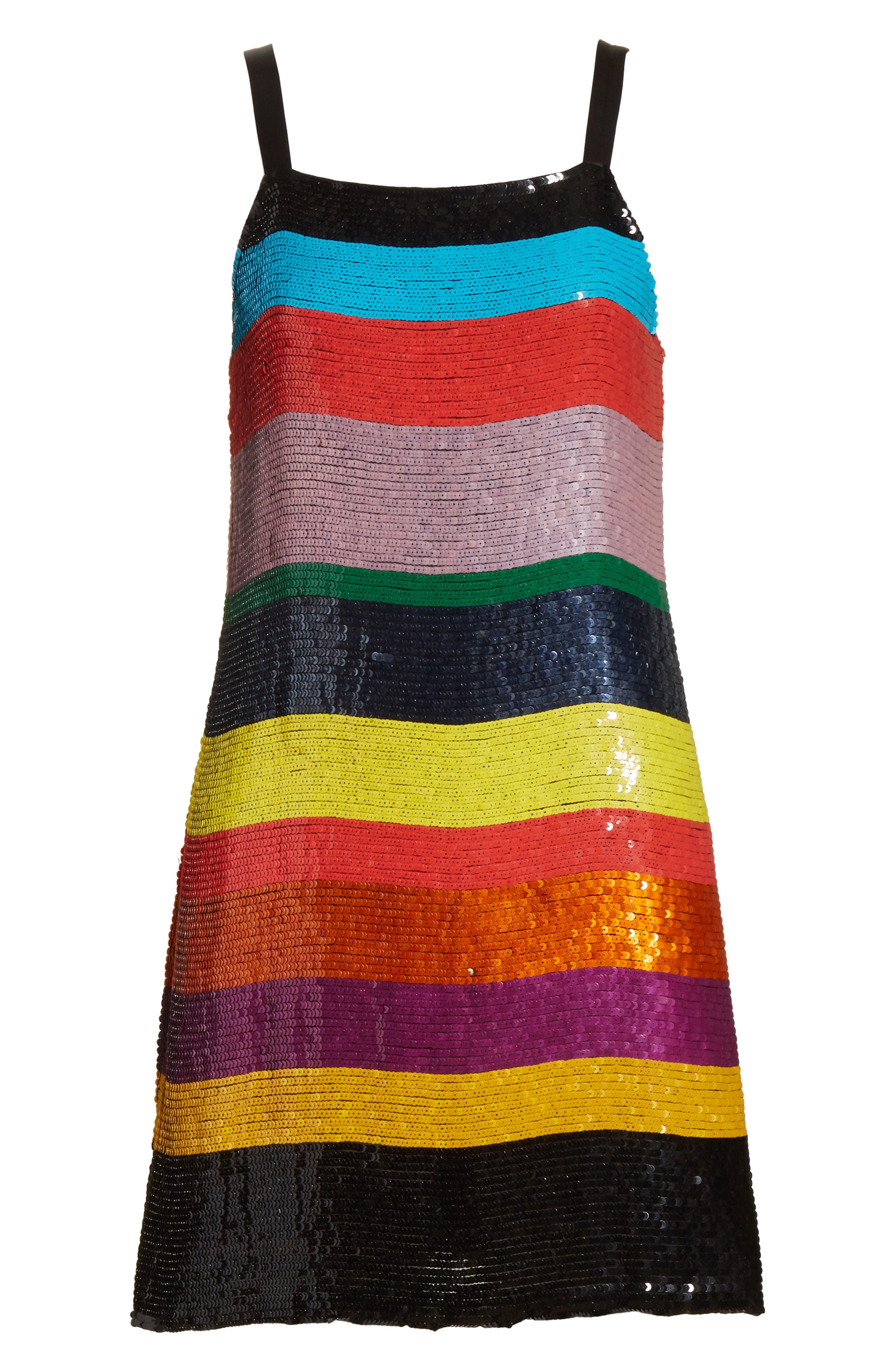 Bridget Striped Sequin Slipdress,                             Alternate thumbnail 6, color,                             Multi