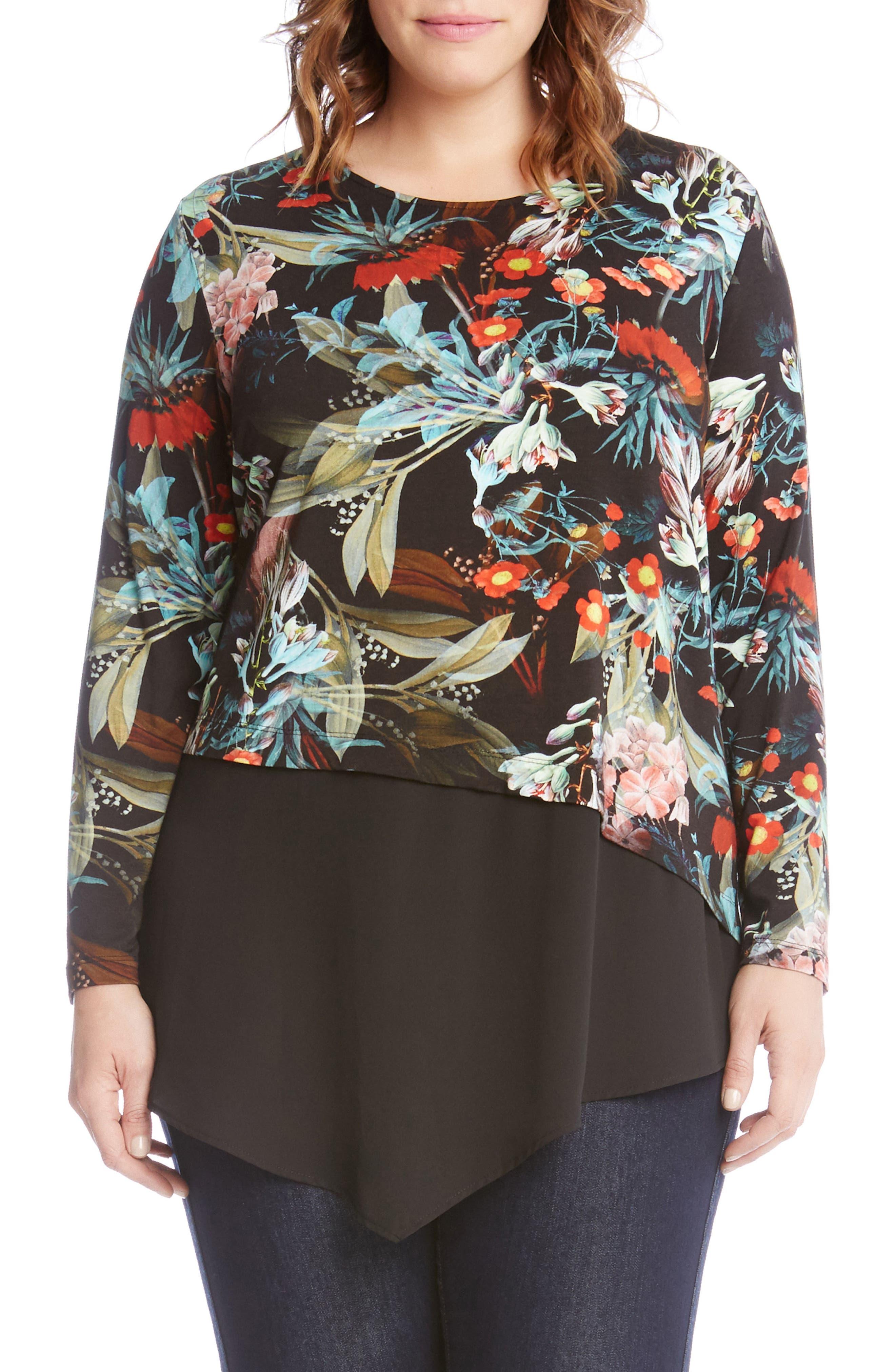 Karen Kane Asymmetrical Floral Top (Plus Size)