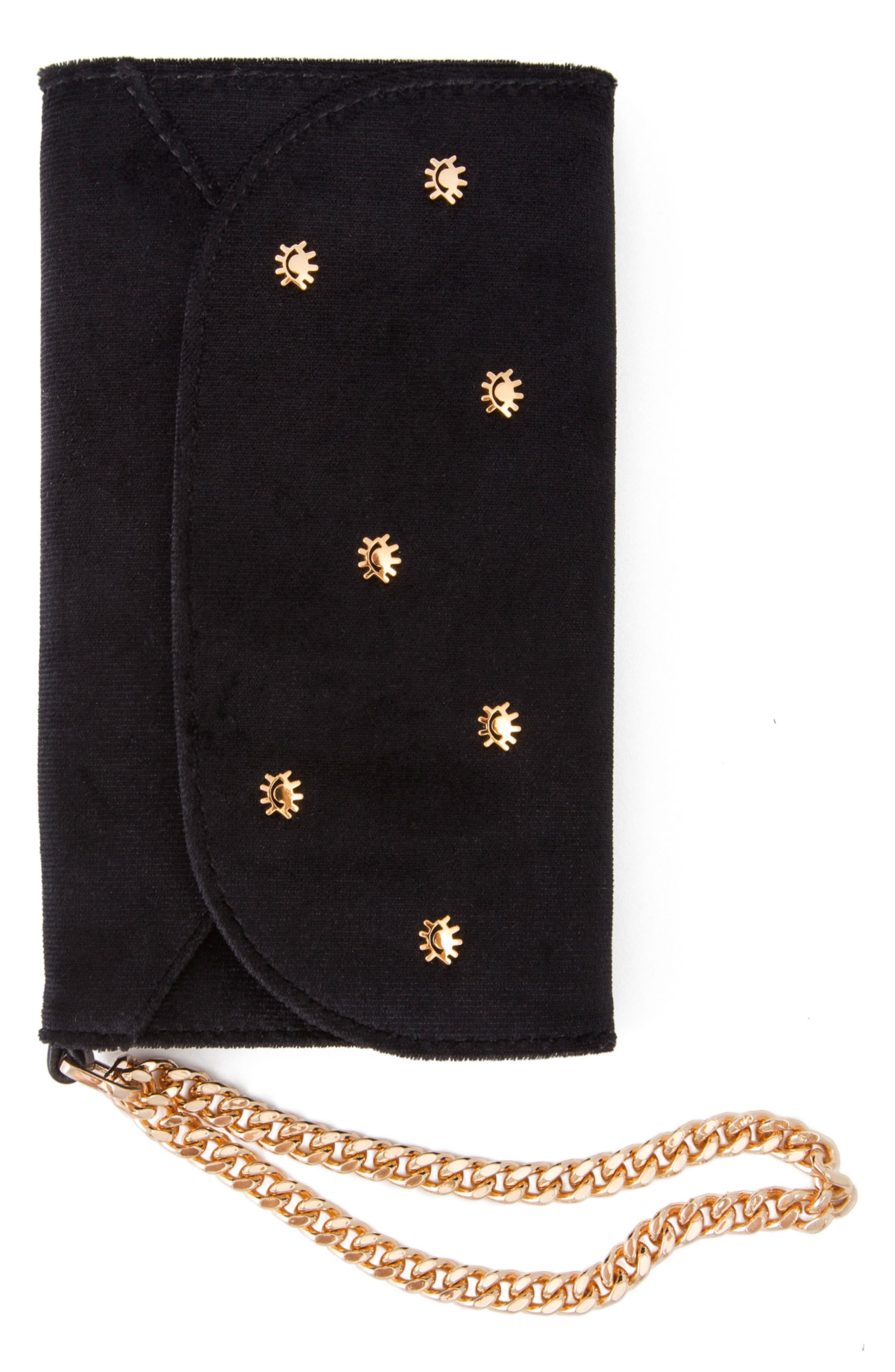 Cosmic Stud iPhone X Velvet Wristlet,                         Main,                         color, Black