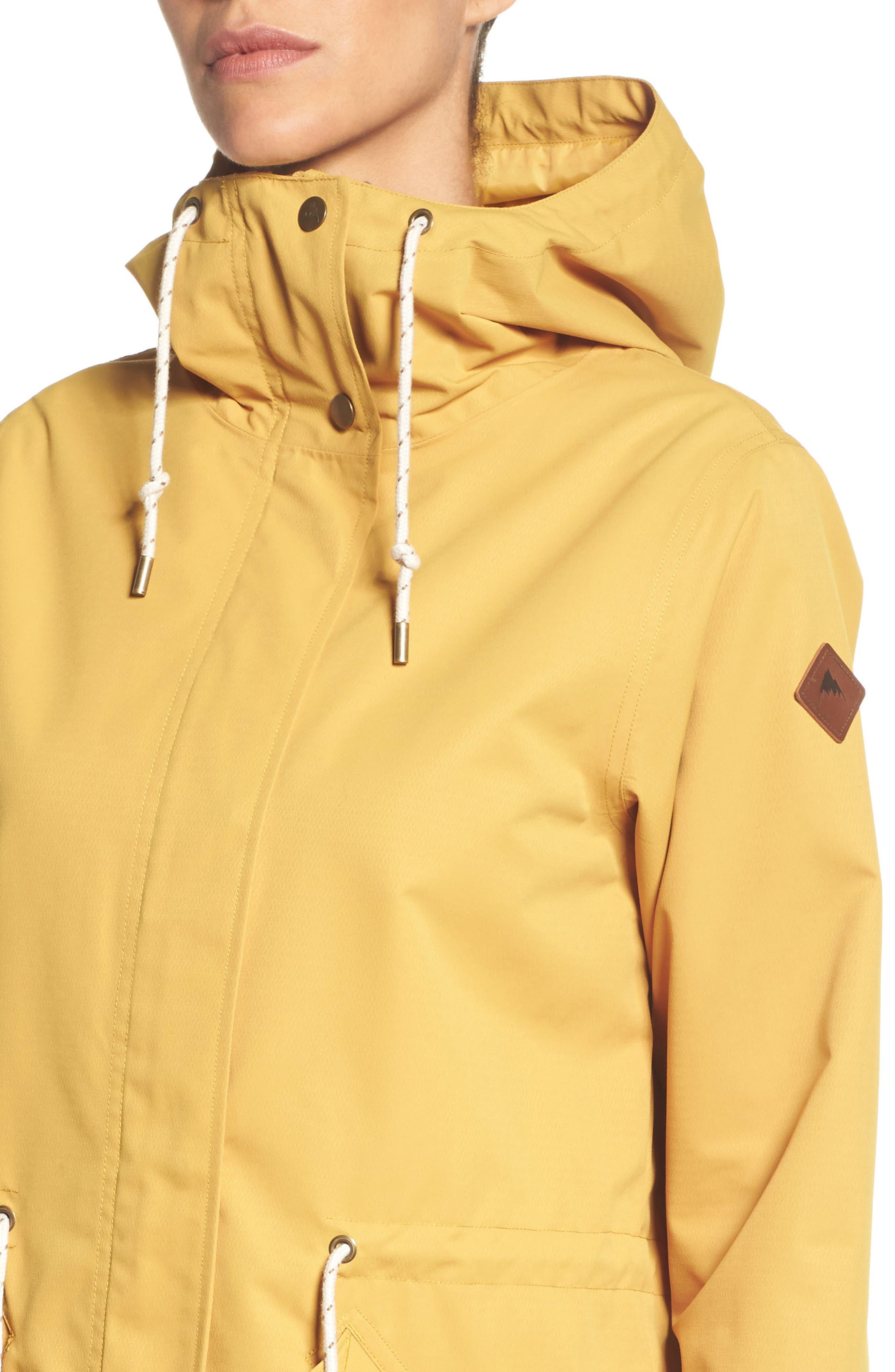 Sadie Waterproof Hooded Jacket,                             Alternate thumbnail 4, color,                             Harvest Gold