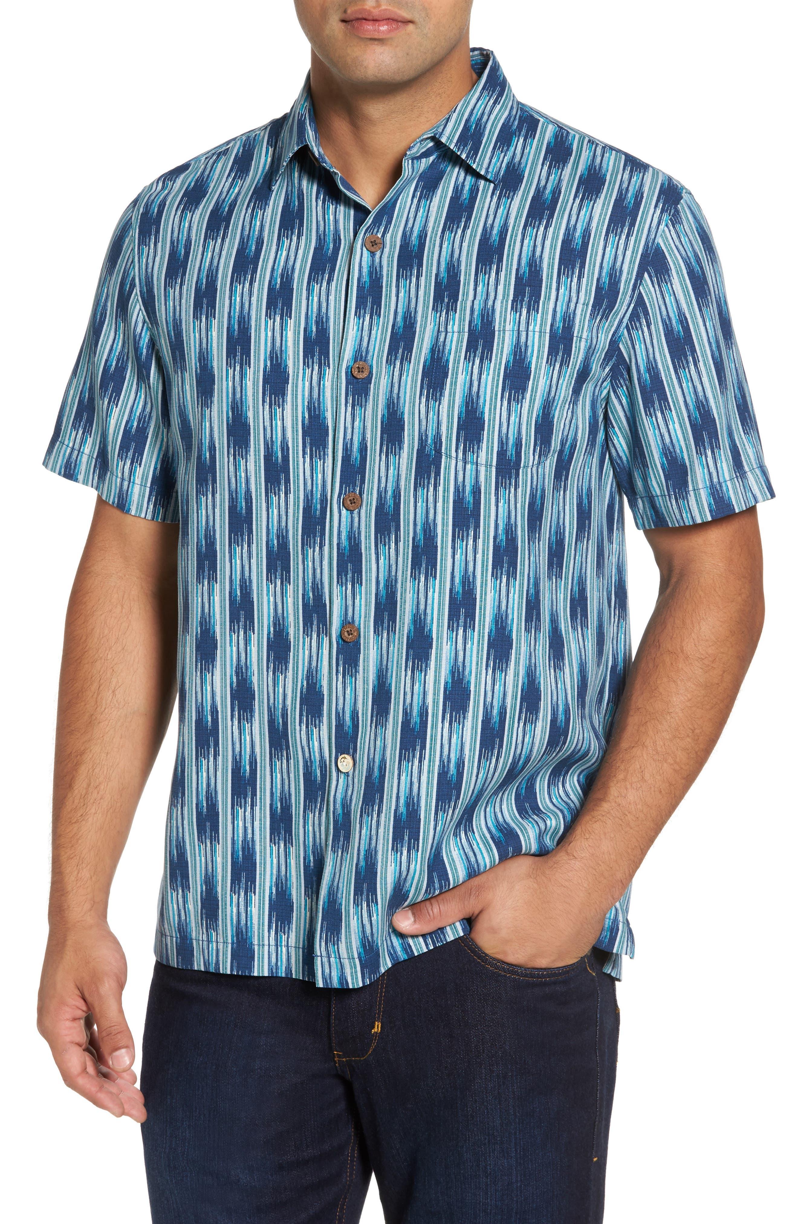 Ikat on a Hot Tin Roof Silk Blend Camp Shirt,                         Main,                         color, Bering Blue