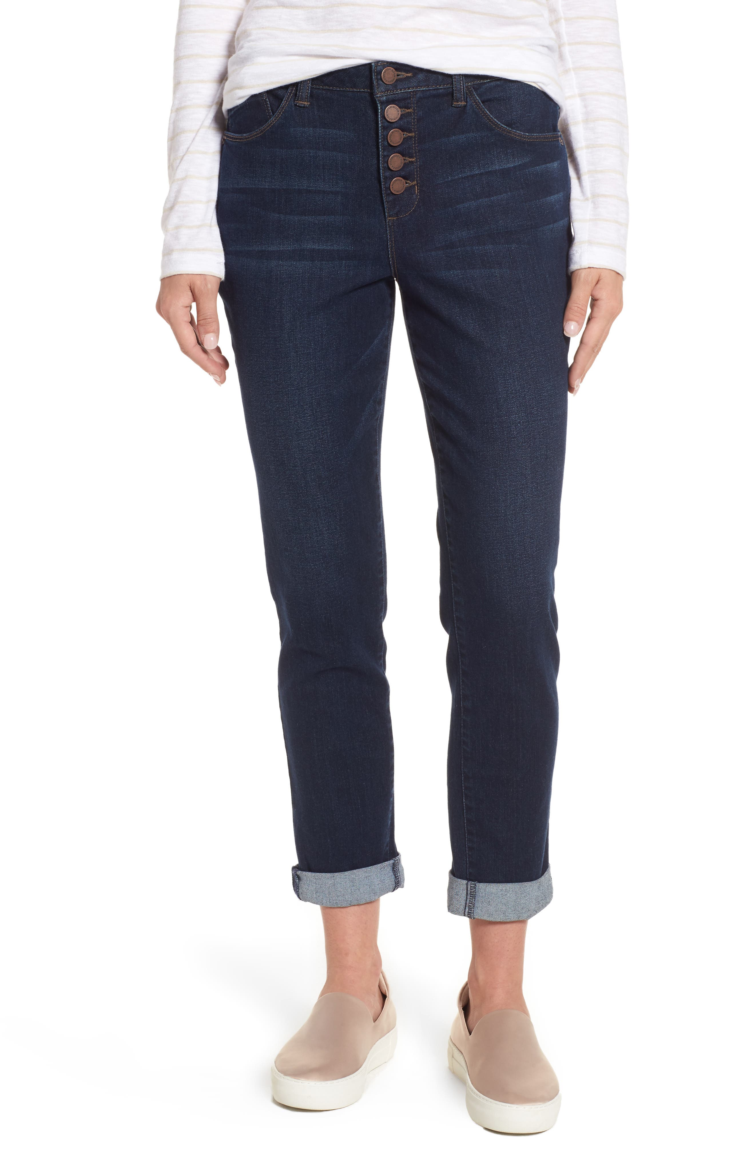 Exposed Button Fly Skinny Jeans,                             Main thumbnail 1, color,                             Blue