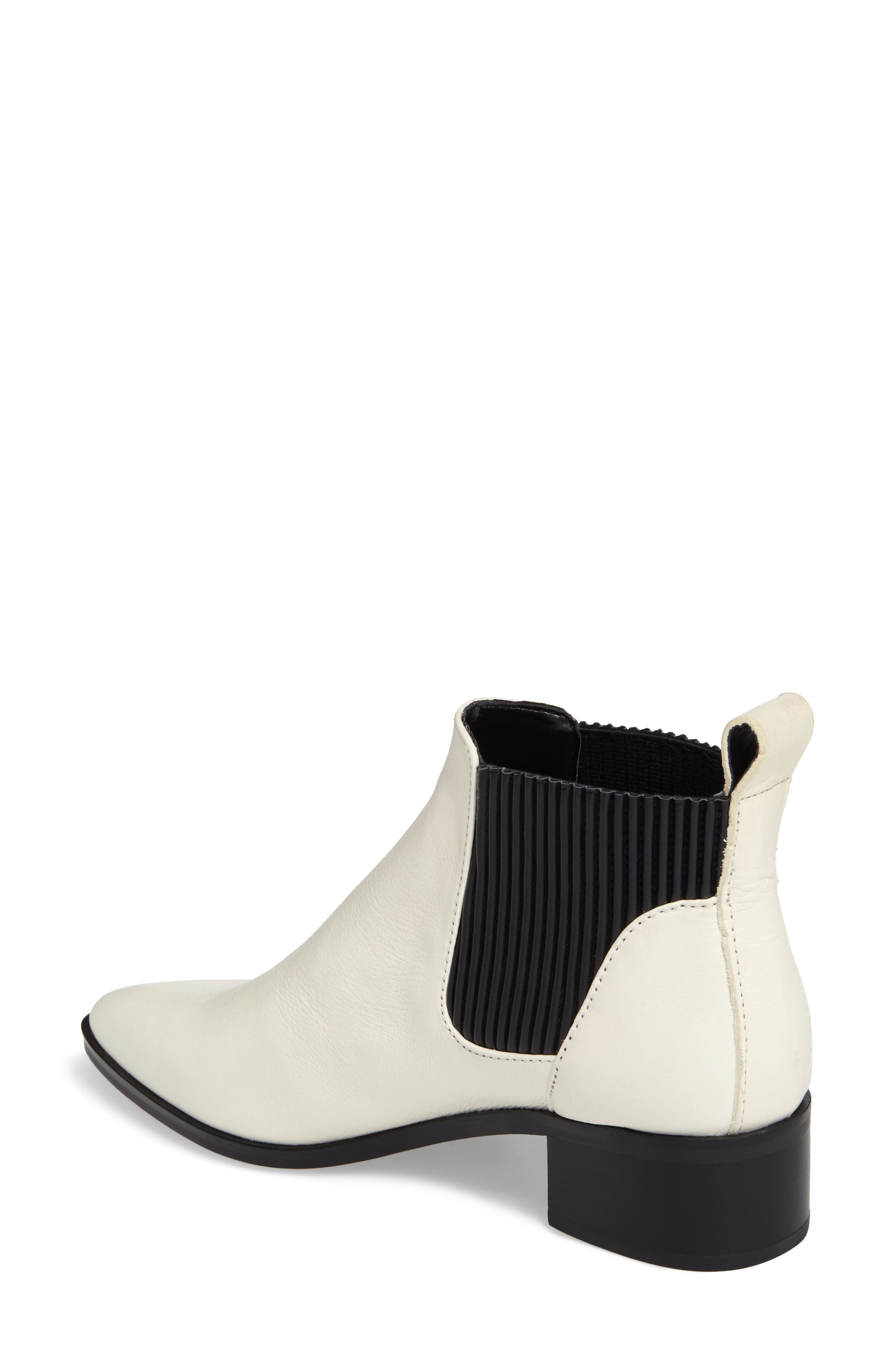 Macie Pointy Toe Chelsea Bootie,                             Alternate thumbnail 2, color,                             Off White Lea
