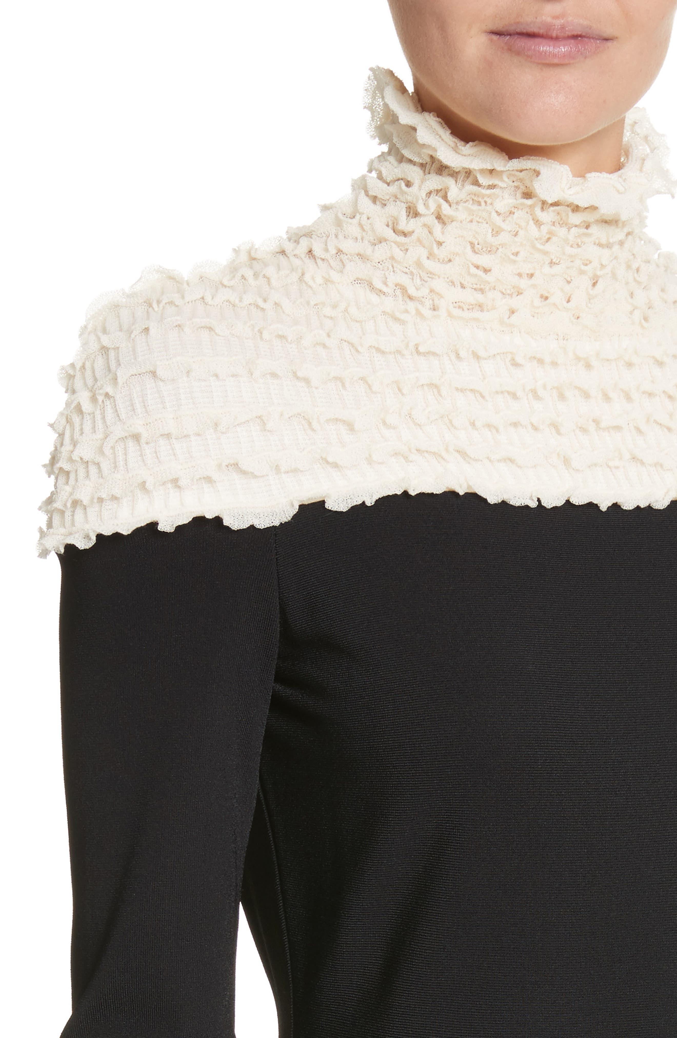 Ruffle Neckline Knit Dress,                             Alternate thumbnail 4, color,                             Black/ Ivory