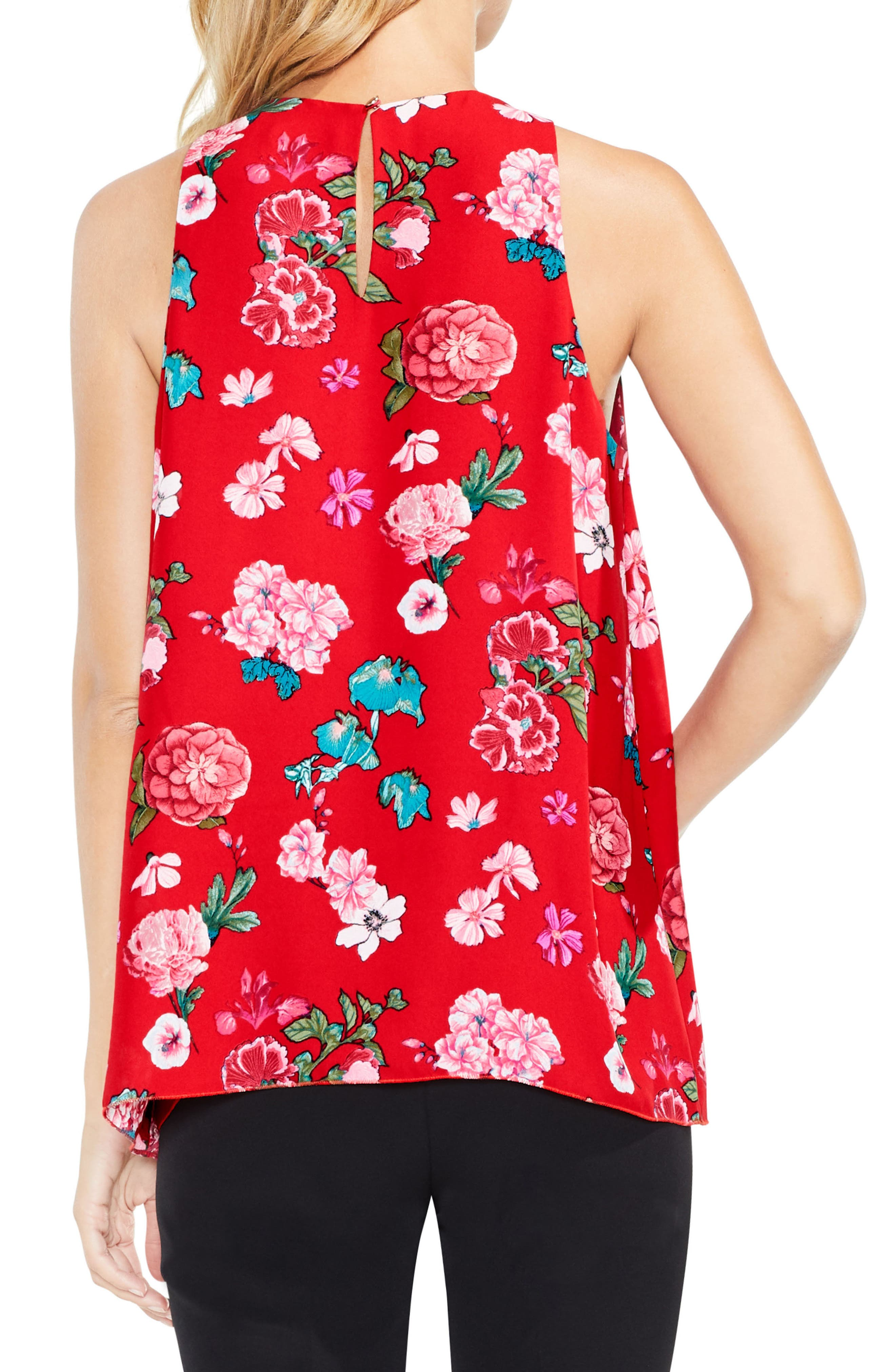 Floral Heirlooms Sleeveless Blouse,                             Alternate thumbnail 2, color,                             True Crimson