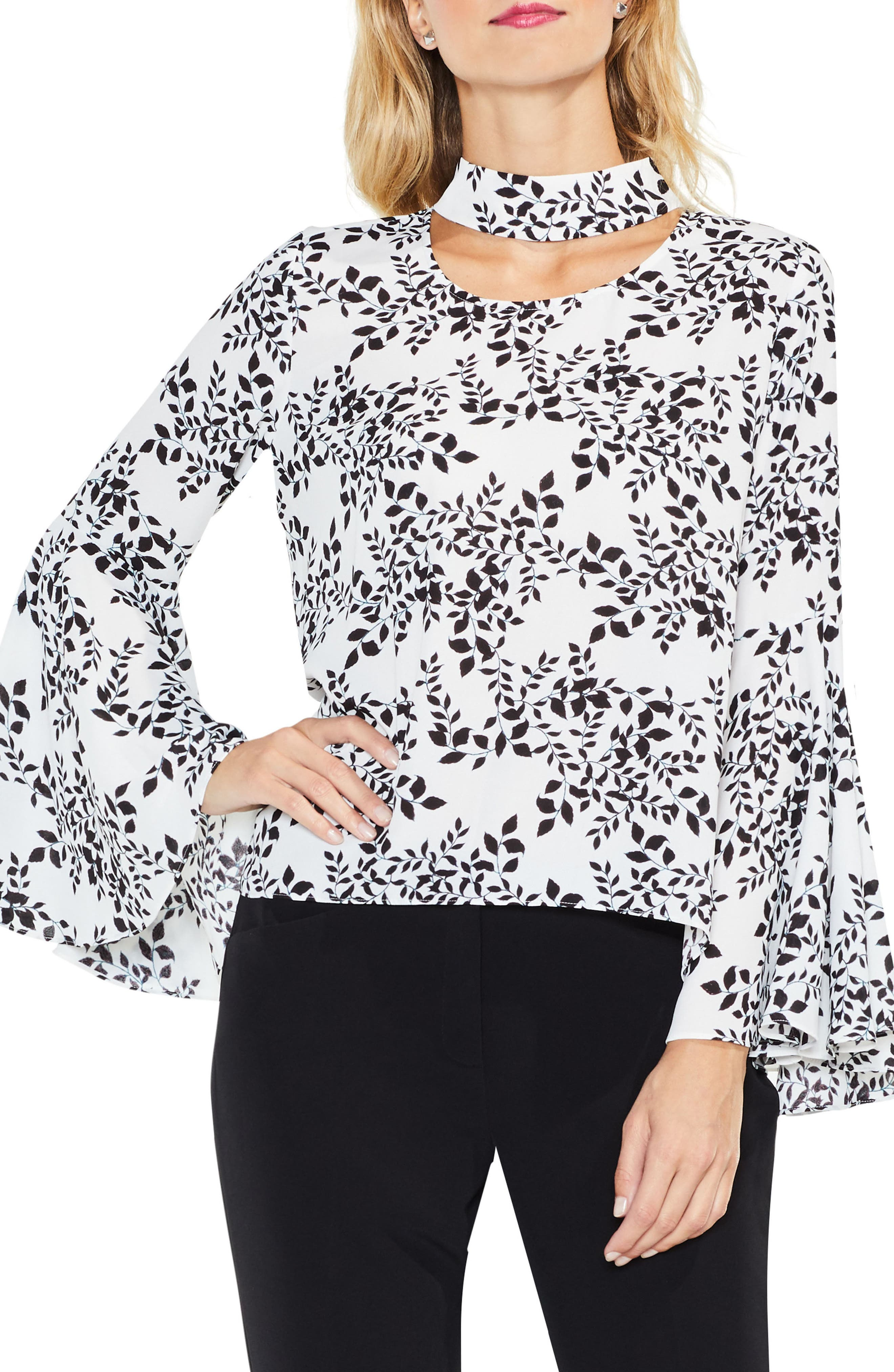 Main Image - Vince Camuto Cascading Leaves Bell Sleeve Blouse