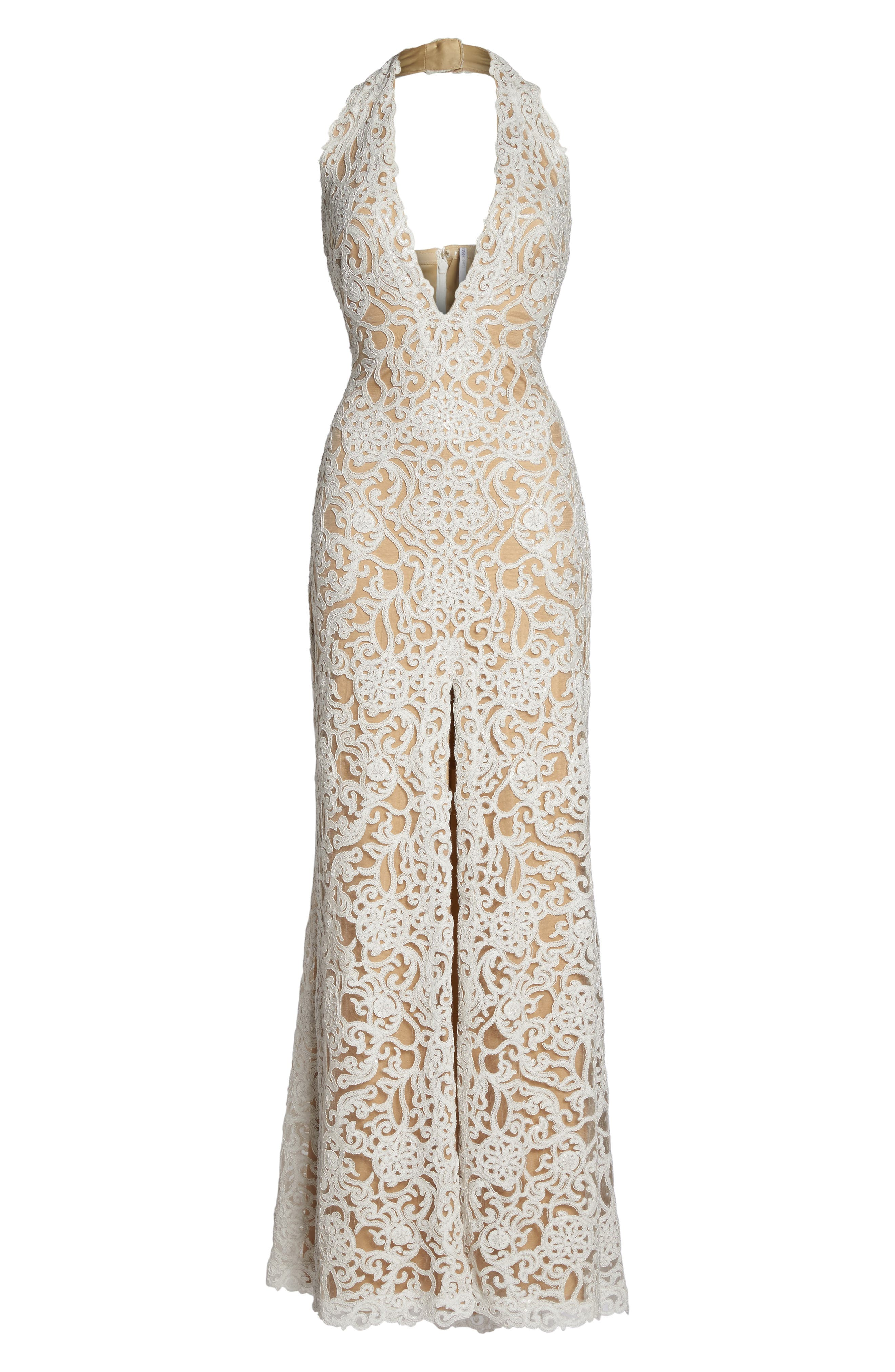 Alternate Image 6  - Tadashi Shoji Lace Front Slit Halter Gown