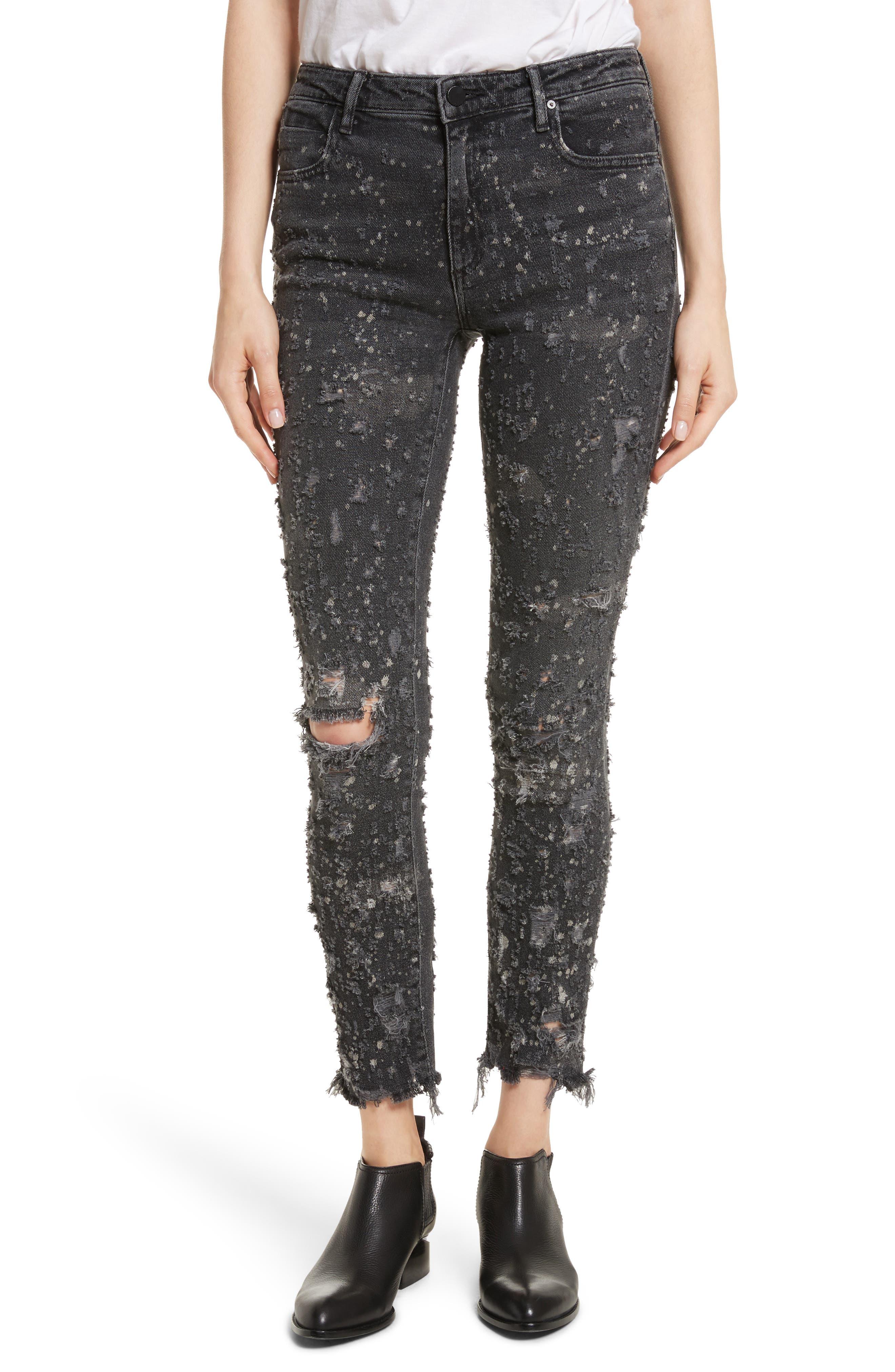 Denim X Alexander Wang Slim Destroyed Jeans,                             Main thumbnail 1, color,                             Grey Fade