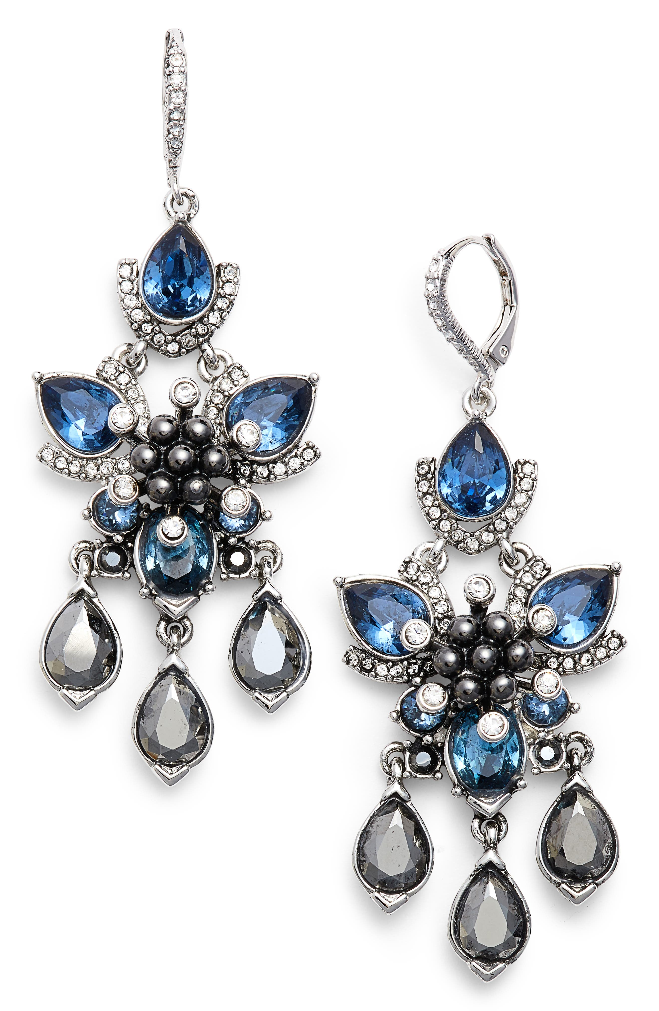 Chandelier Earrings,                             Main thumbnail 1, color,                             Silver/ Crystal/ Blue Multi