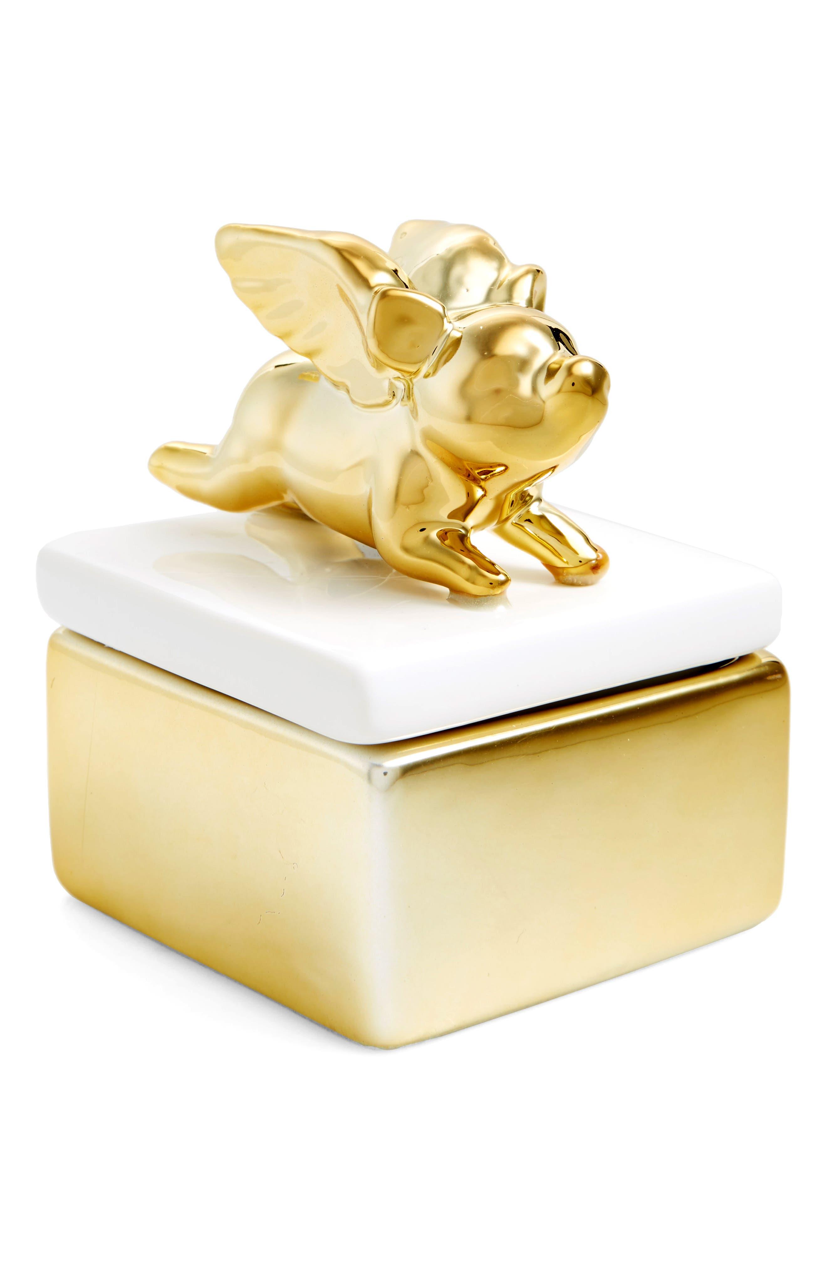 Flying Pig Trinket Box,                             Main thumbnail 1, color,                             Gold