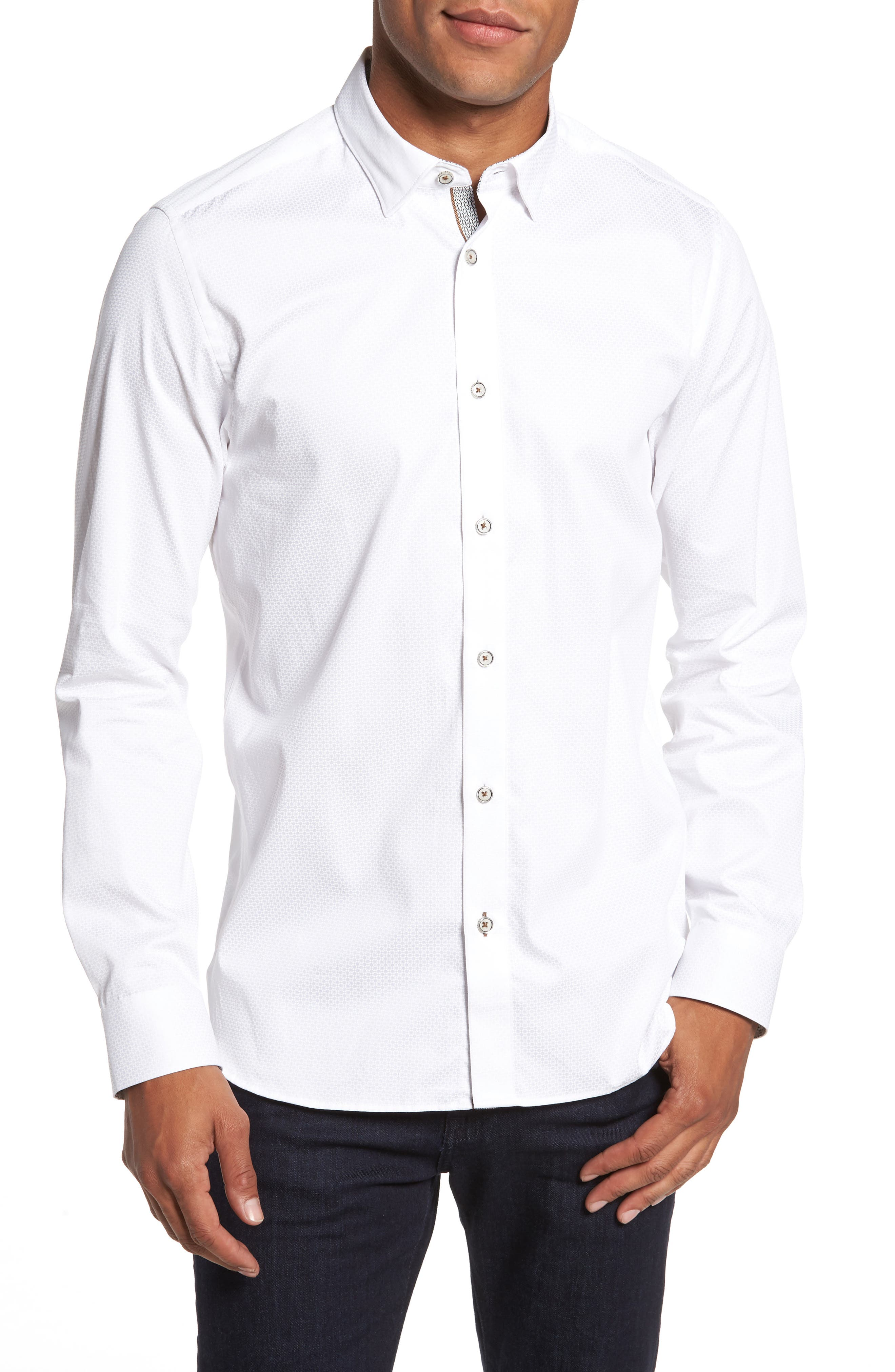 Strazbo Tonal Print Sport Shirt,                             Main thumbnail 1, color,                             White