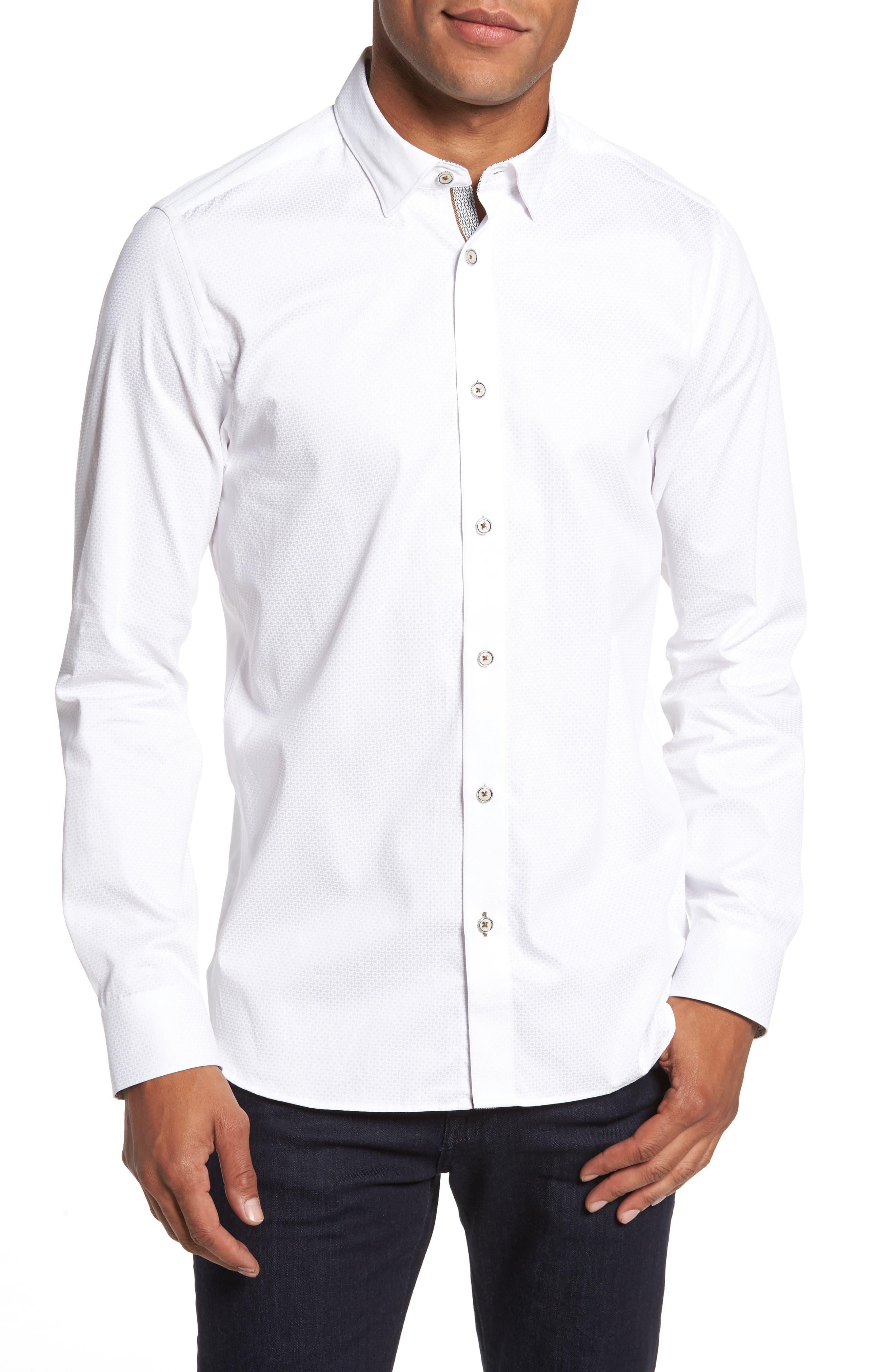 Strazbo Tonal Print Sport Shirt,                         Main,                         color, White
