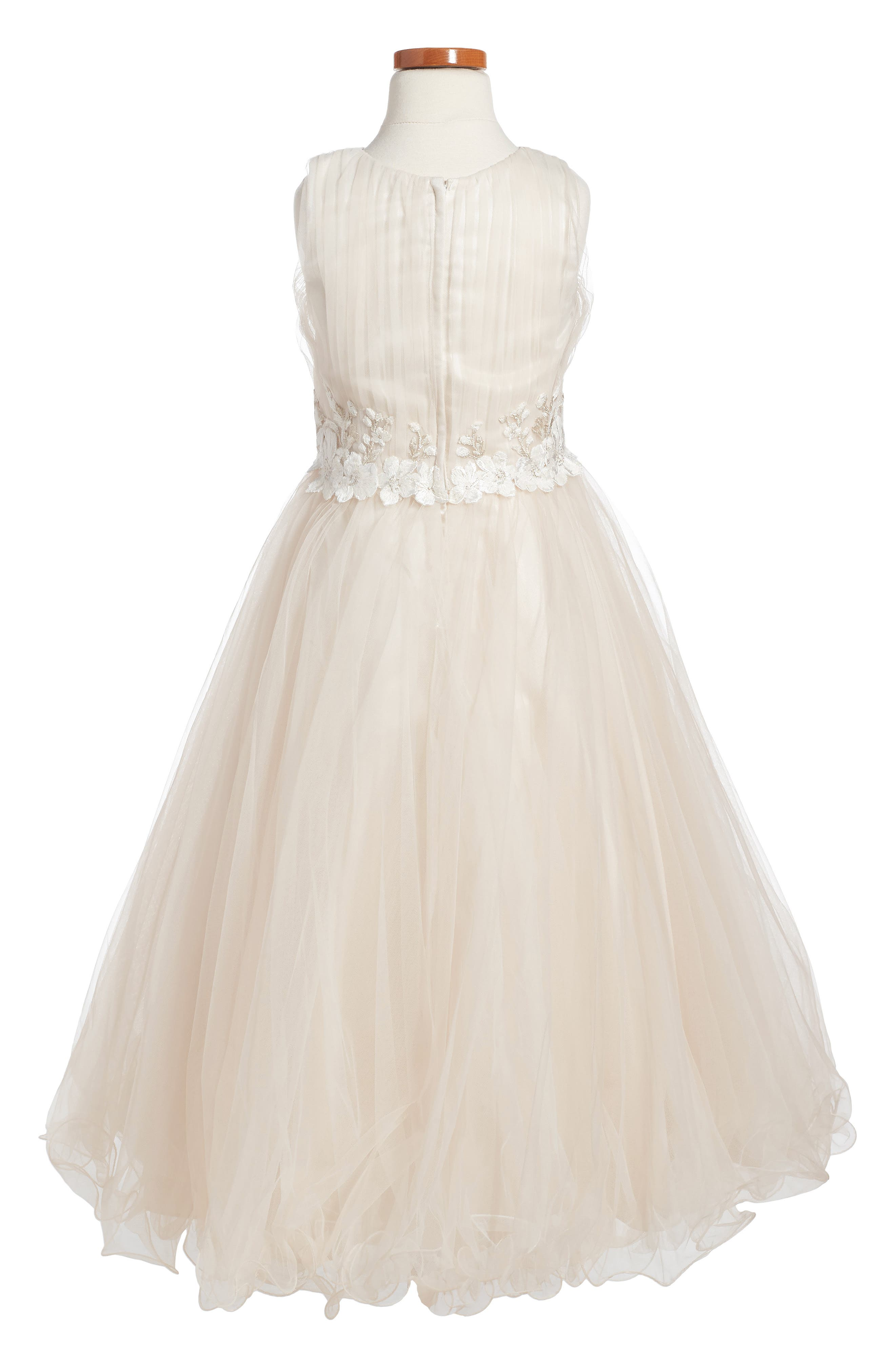 Lace & Tulle Dress,                             Alternate thumbnail 2, color,                             Stone/ Oyster