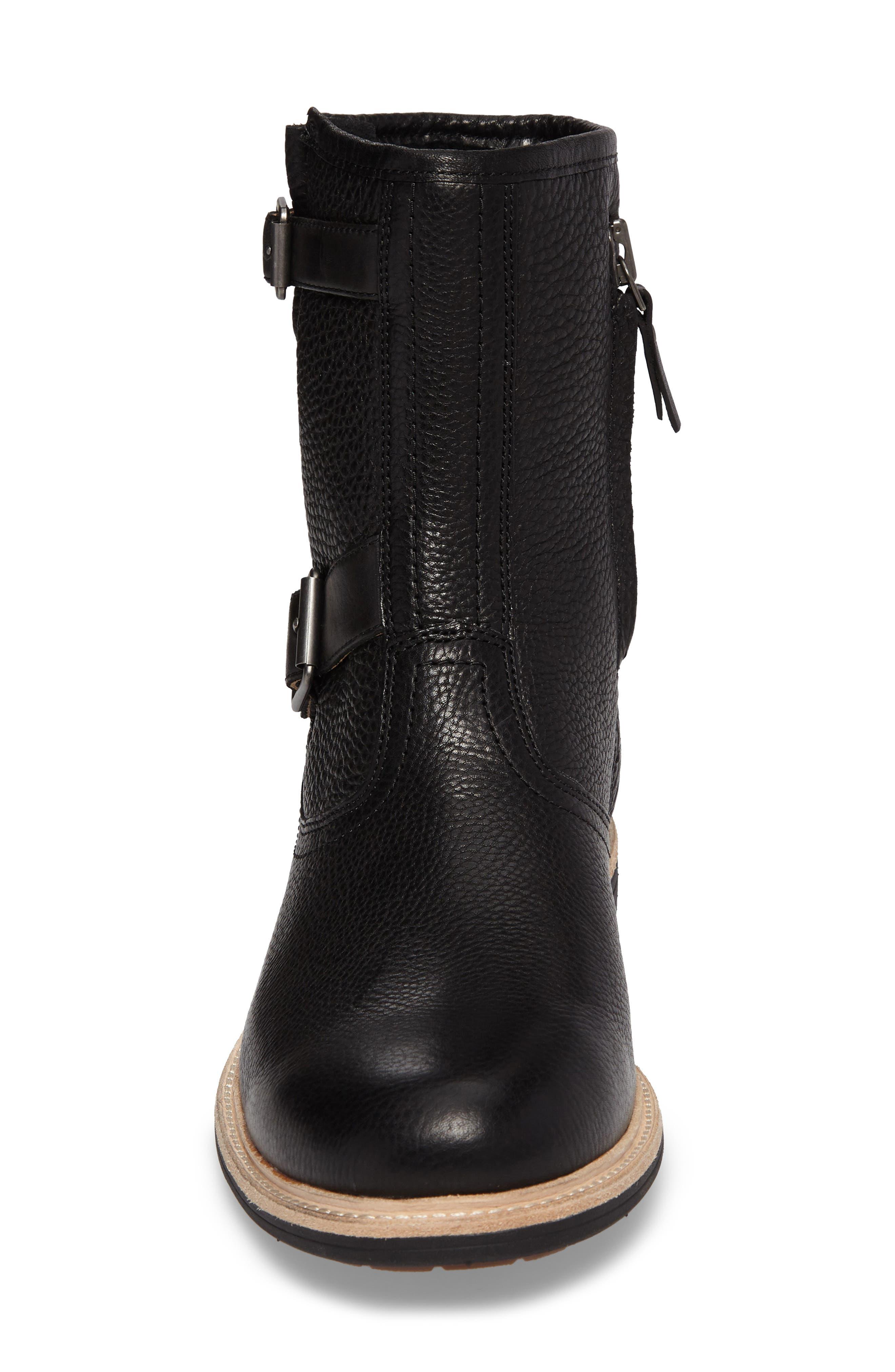 Jaren Zip Boot with Genuine Shearling,                             Alternate thumbnail 4, color,                             Black