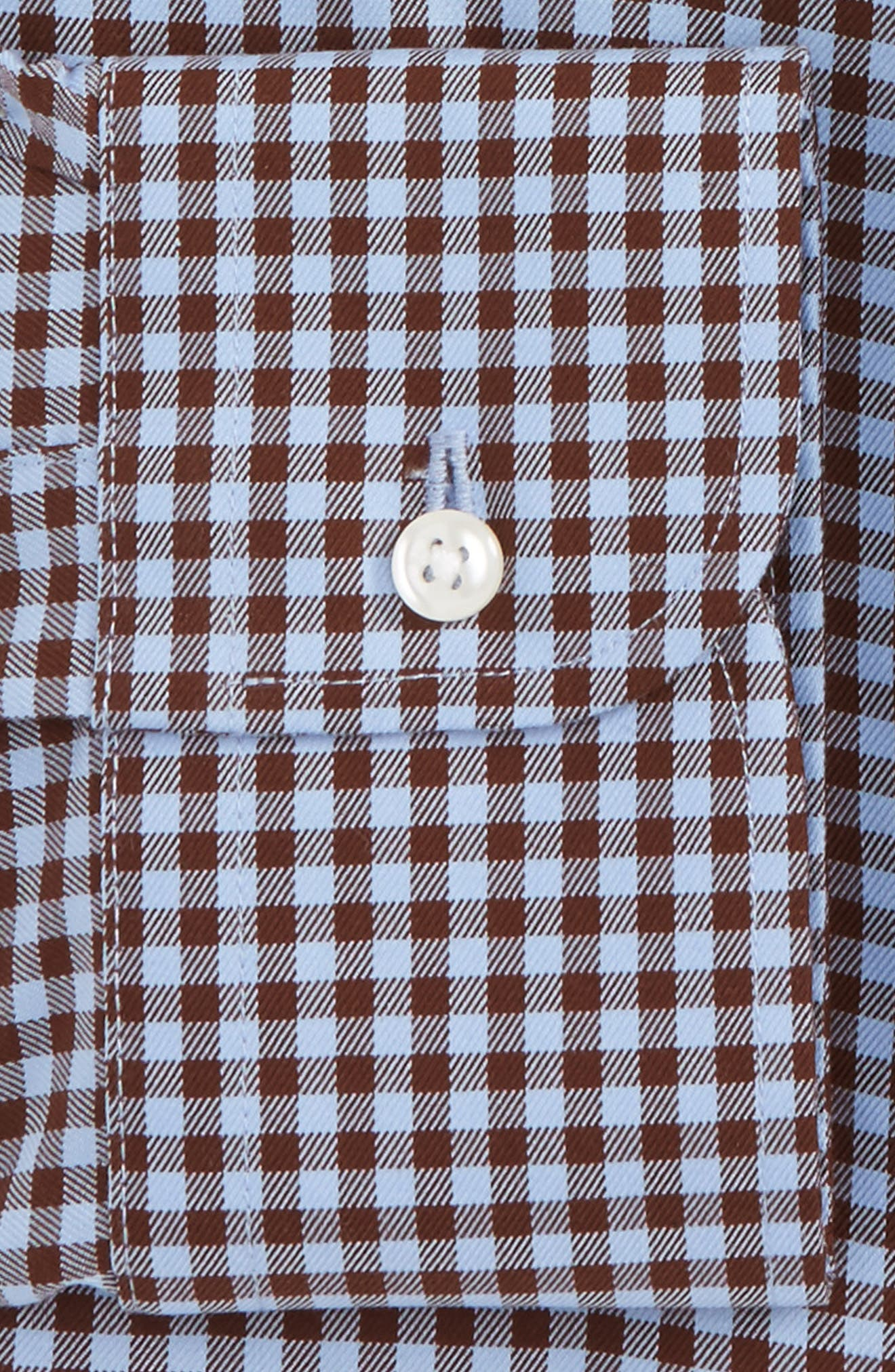 Traditional Fit Non-Iron Gingham Dress Shirt,                             Alternate thumbnail 5, color,                             Brown Syrup