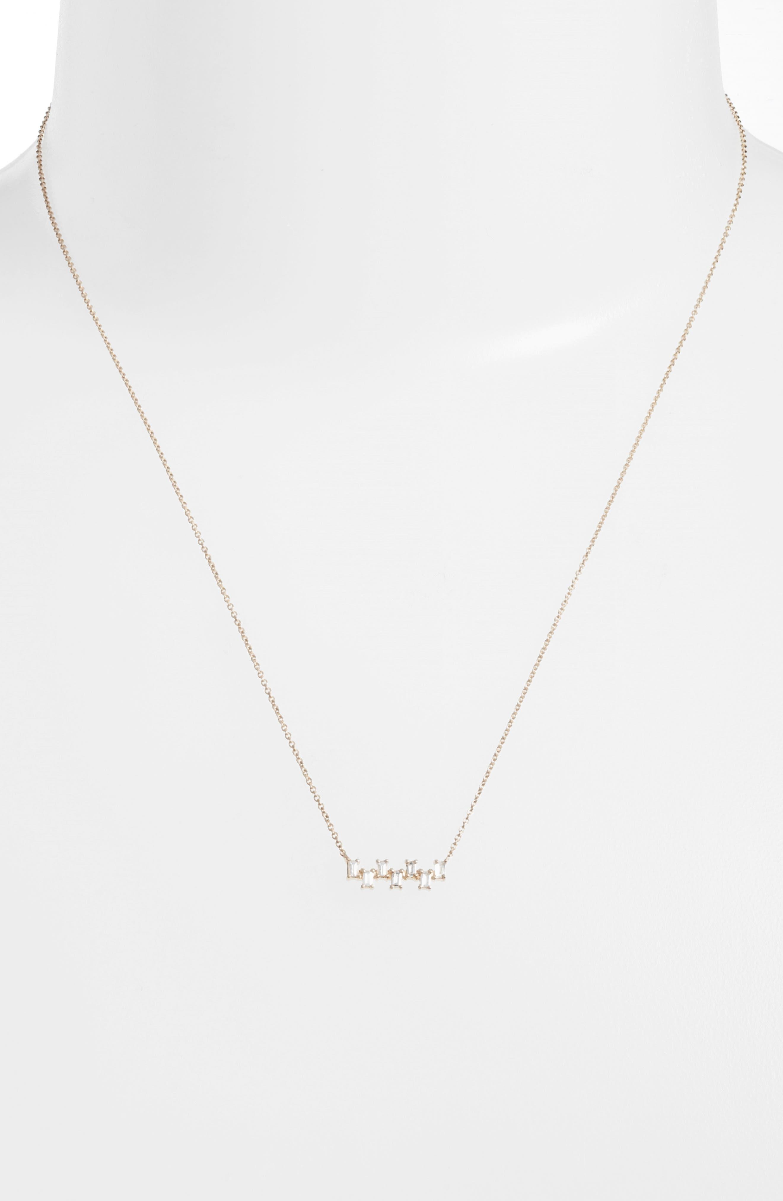 Sadie Diamond Bar Pendant Necklace,                             Alternate thumbnail 2, color,                             Yellow Gold
