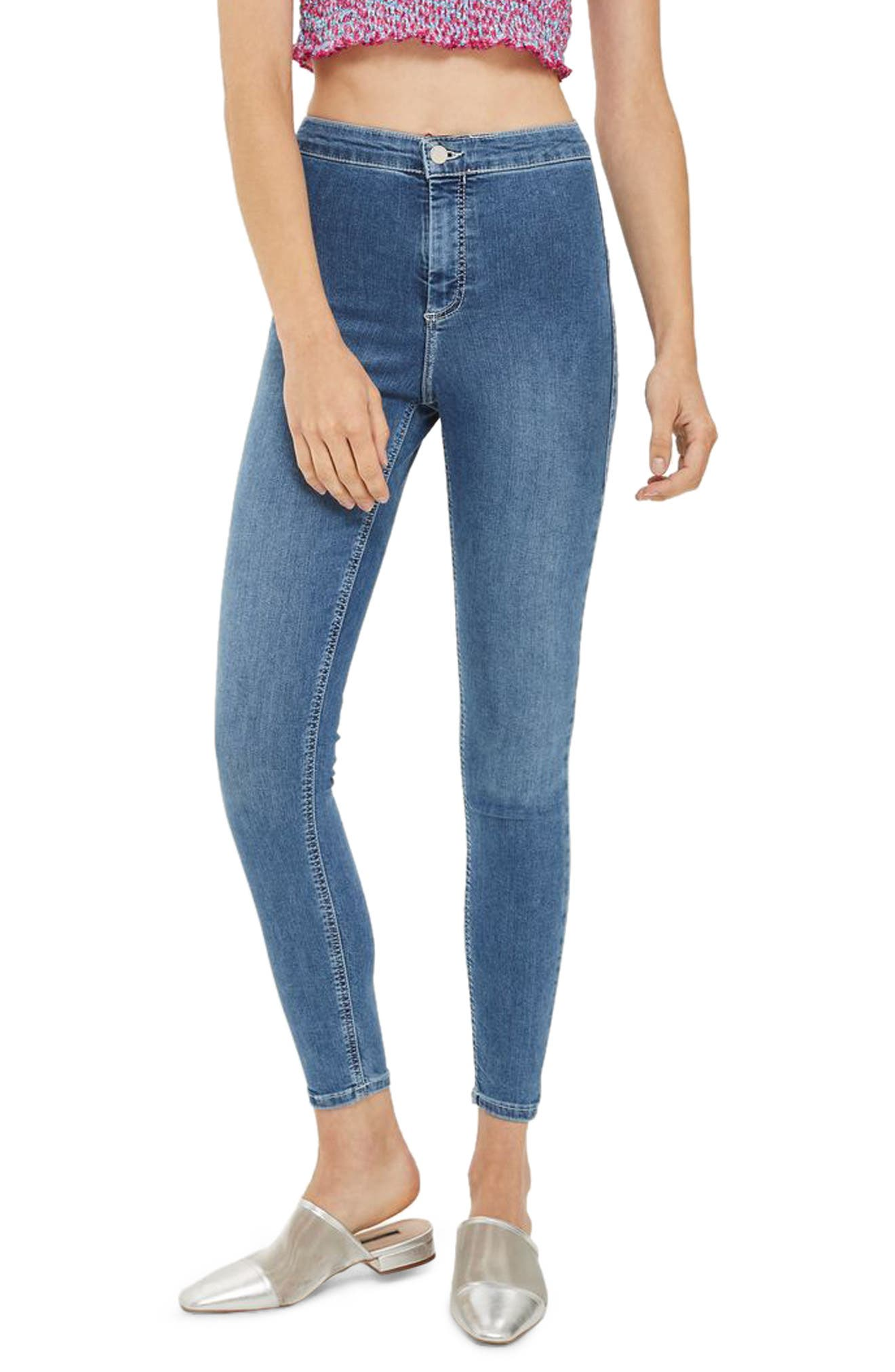 Joni Contrast Stitch High Rise Skinny Jeans,                         Main,                         color, Mid Denim
