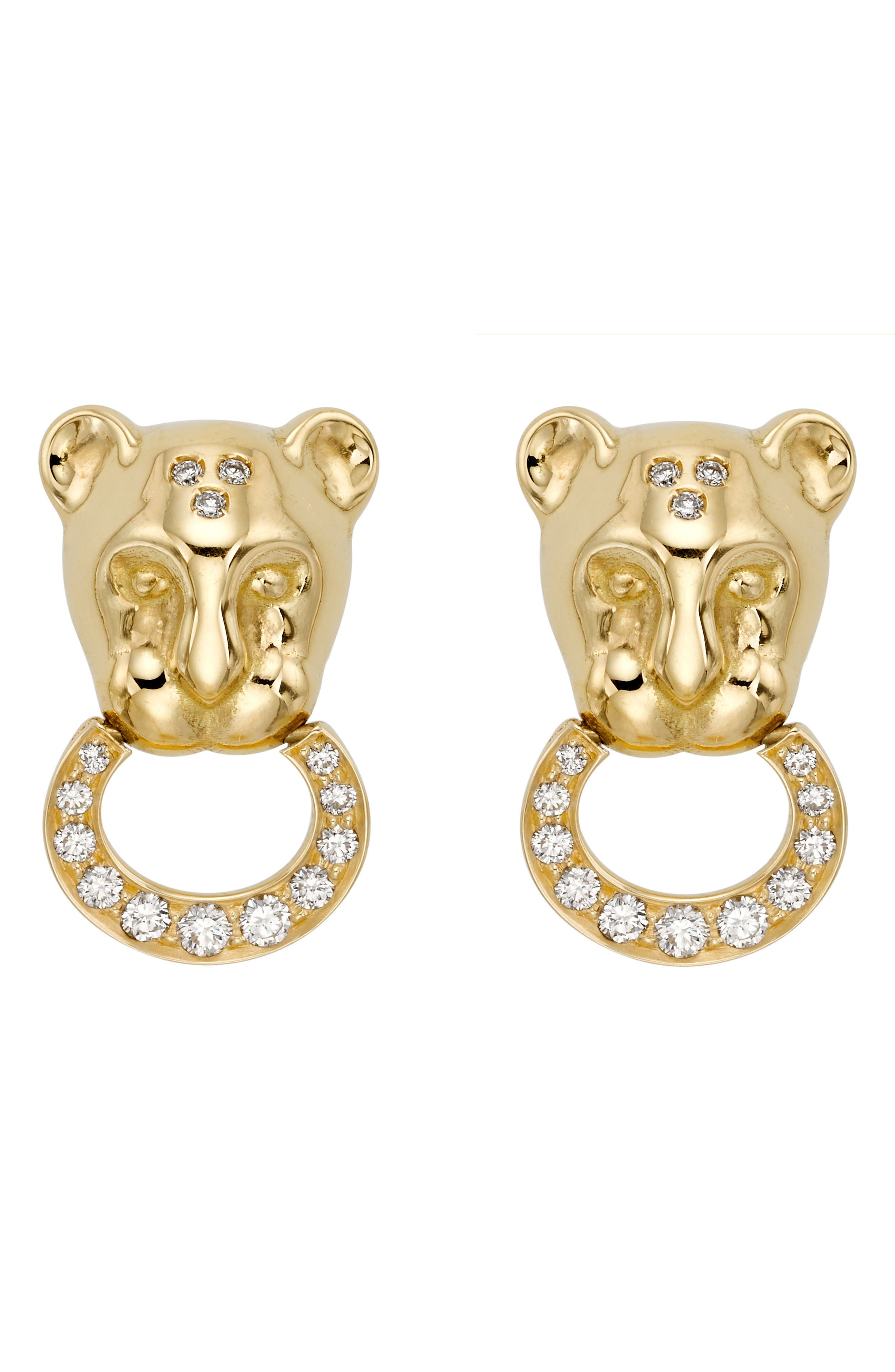 Temple St. Clair Lion Cub Diamond Stud Earrings,                             Main thumbnail 1, color,                             Yellow Gold