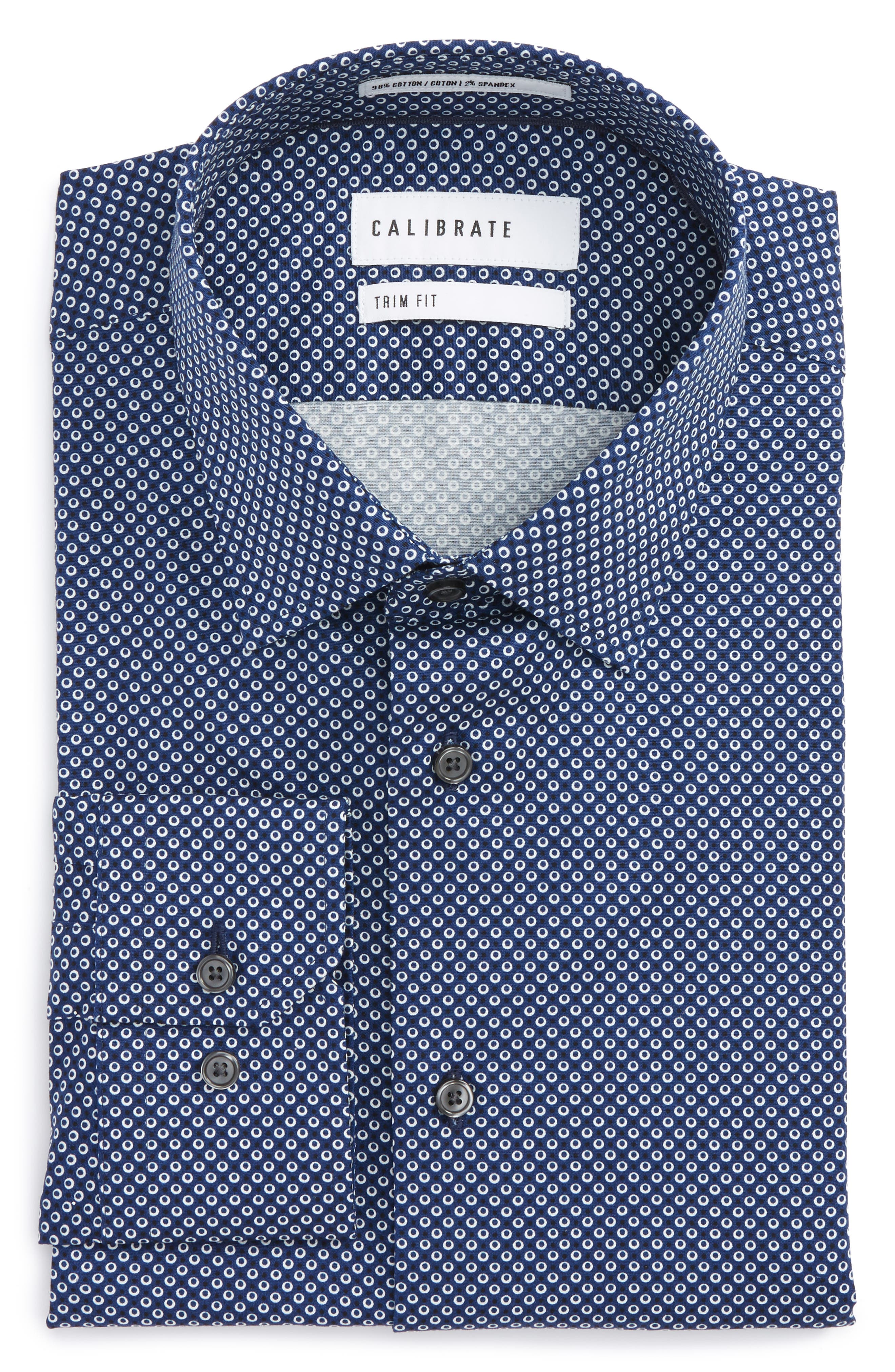 Calibrate Trim Fit Dot Dress Shirt