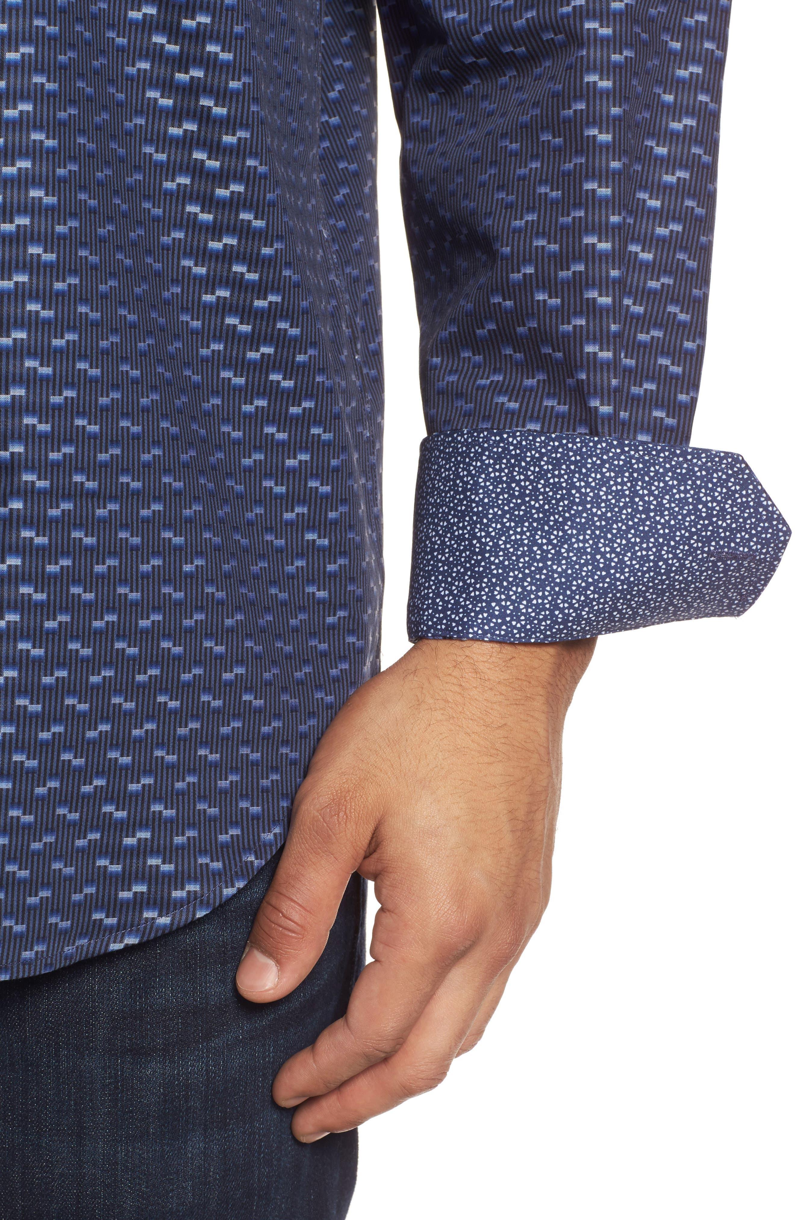 Alternate Image 4  - Bugatchi Classic Fit Geo Jacquard Sport Shirt