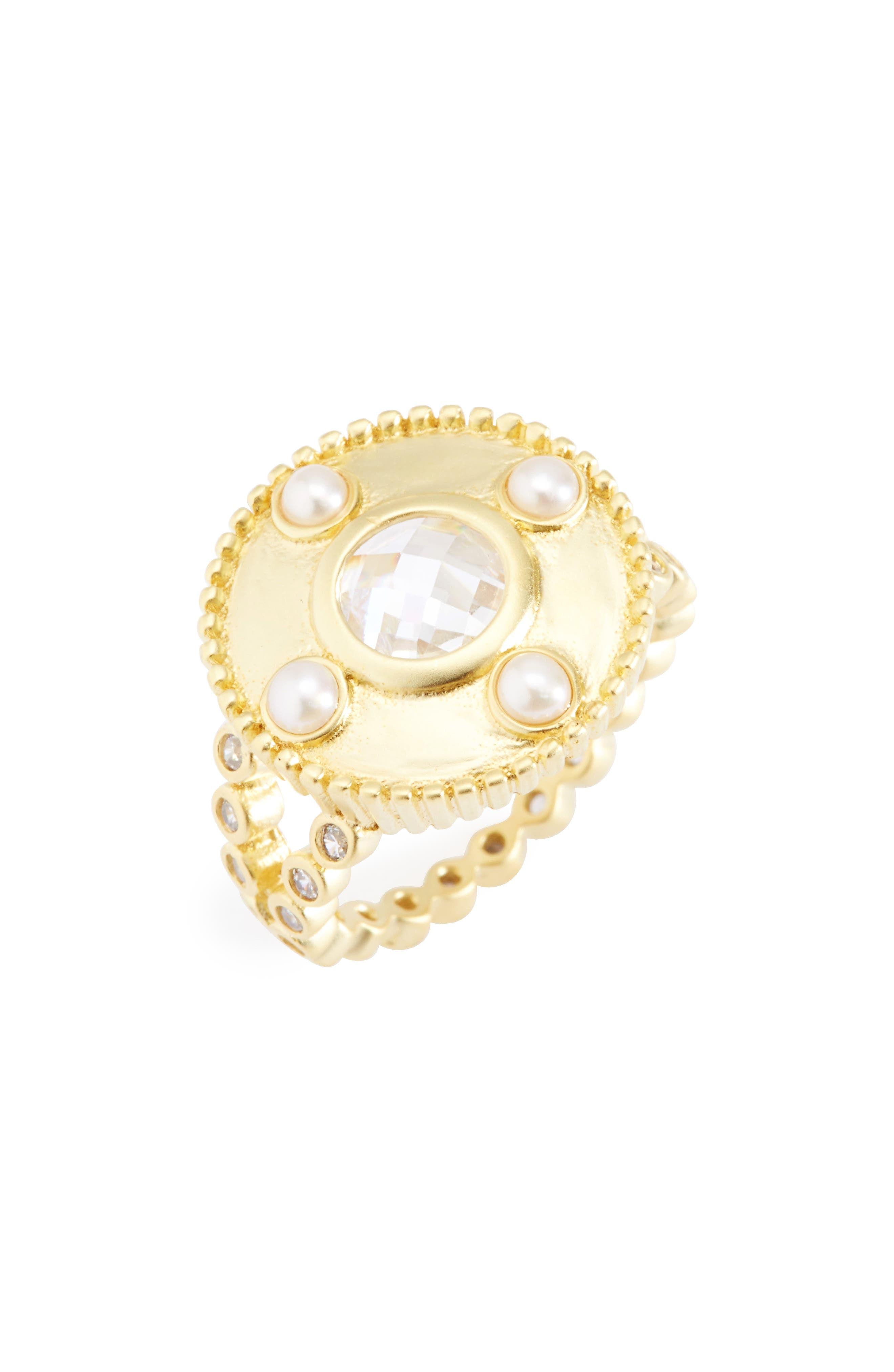 Audrey Studded Cocktail Ring,                             Main thumbnail 1, color,                             Gold/ Clear