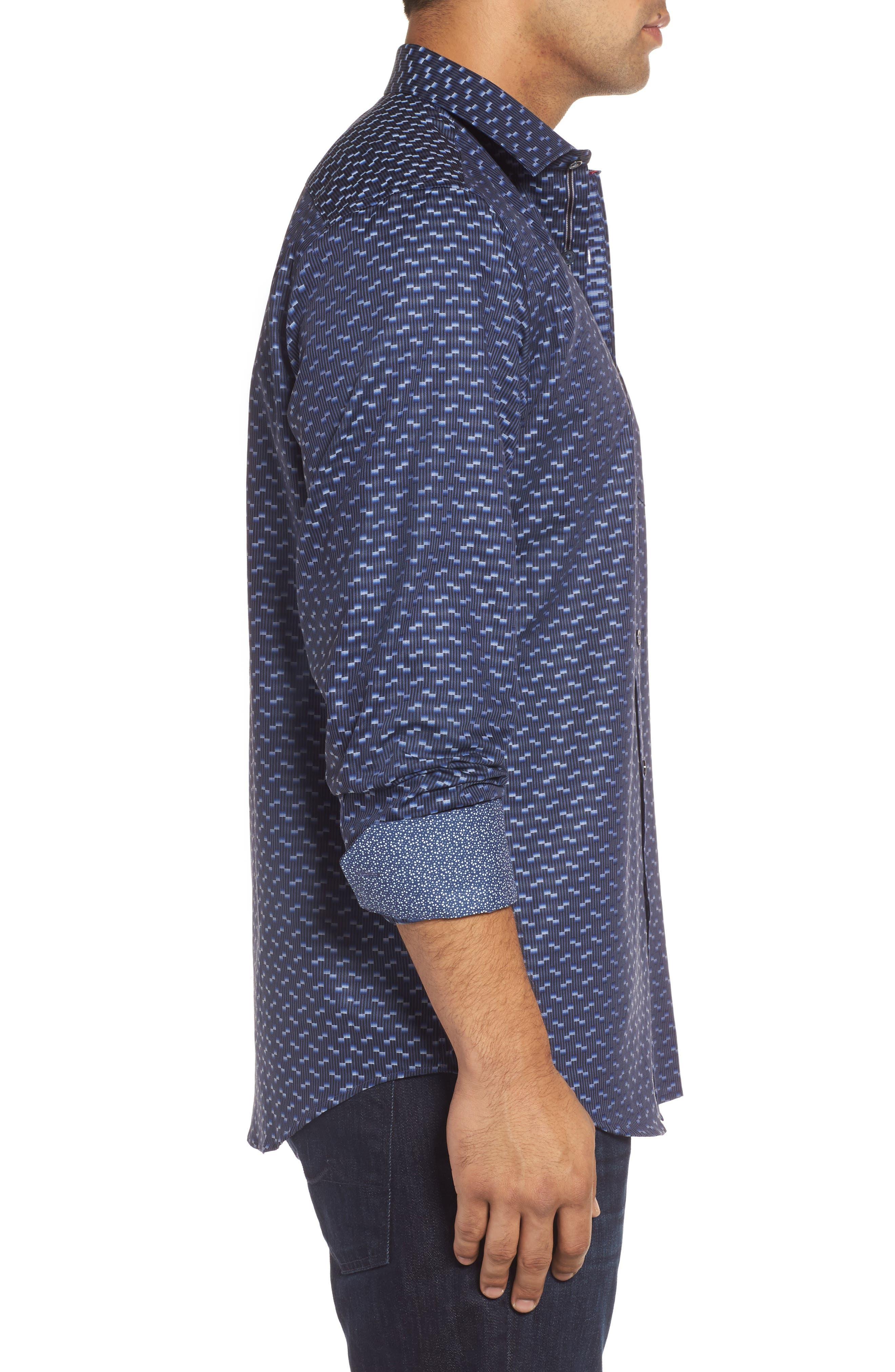 Alternate Image 3  - Bugatchi Classic Fit Geo Jacquard Sport Shirt