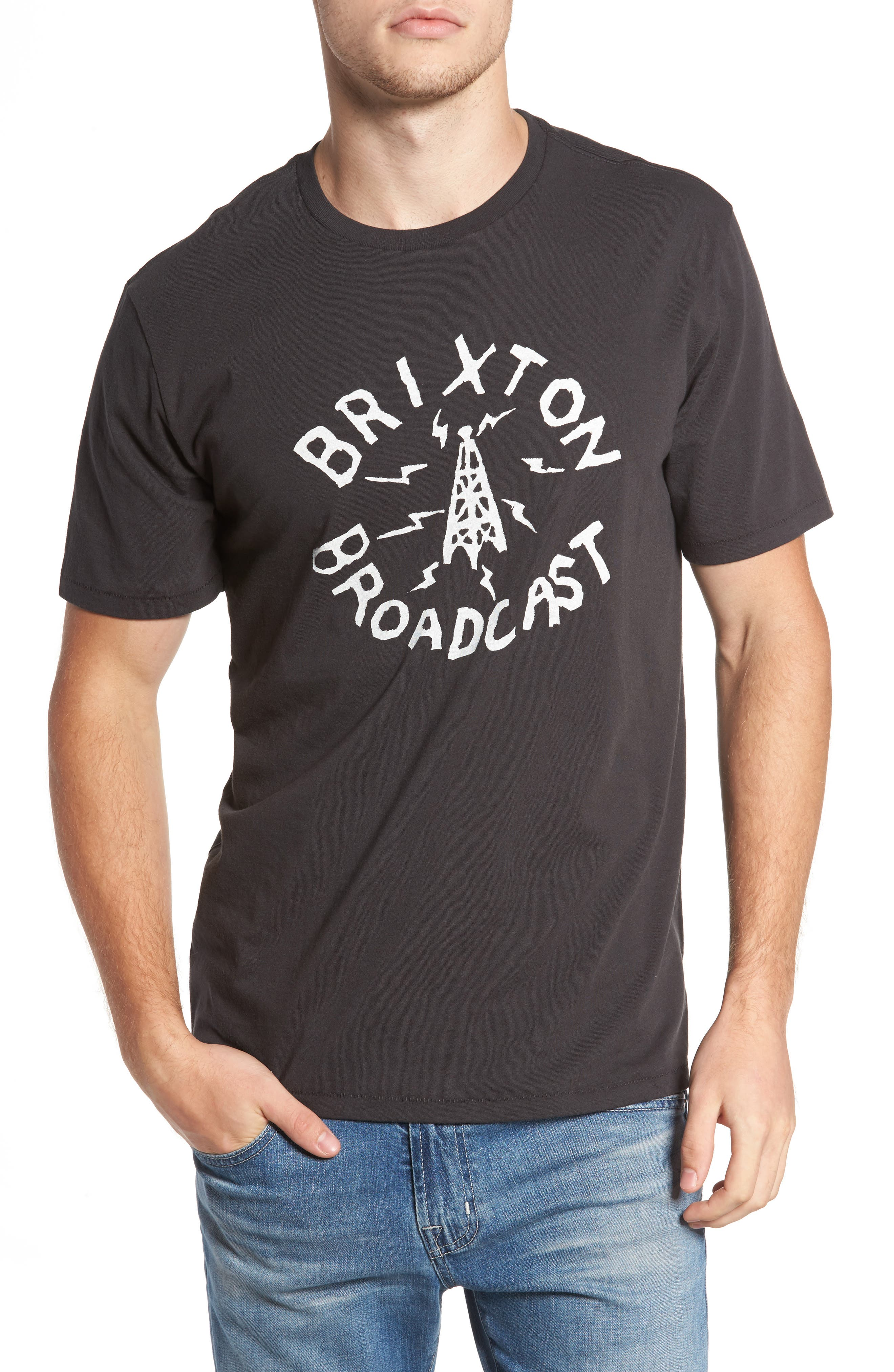 Broadcast T-Shirt,                         Main,                         color, Washed Black