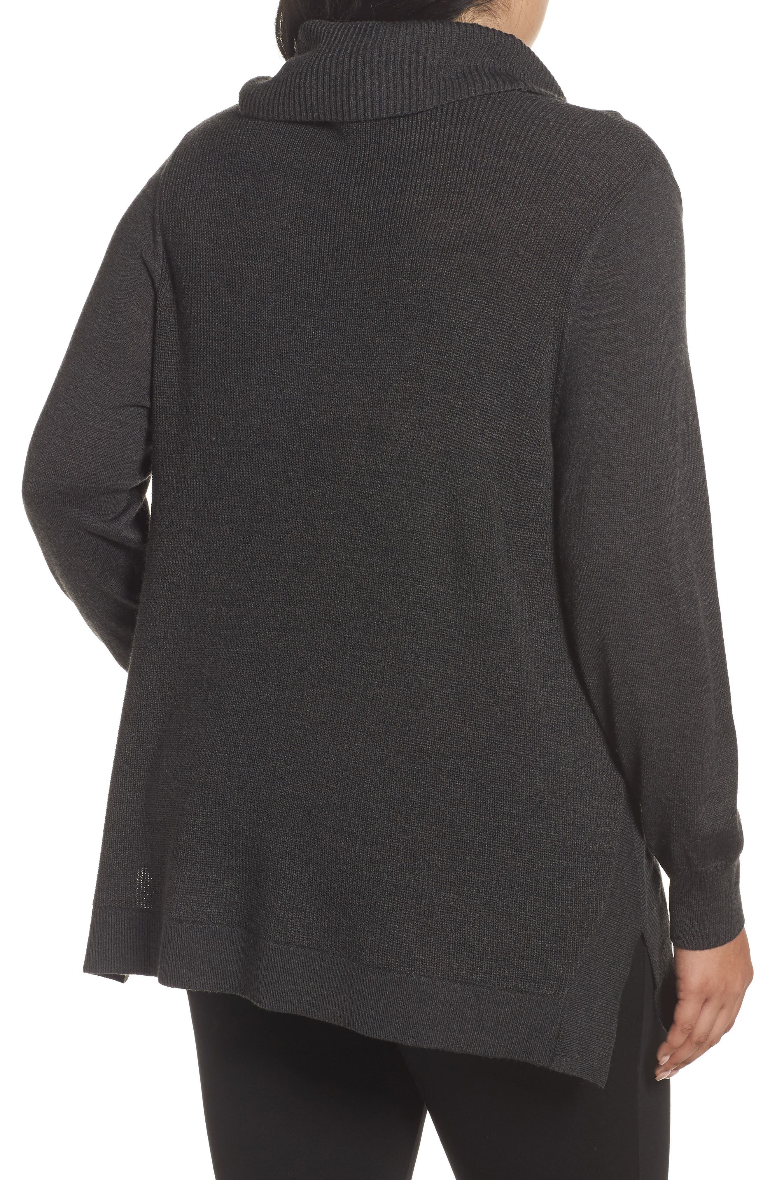 Cowl Neck Ribbed Trim Pullover,                             Alternate thumbnail 2, color,                             Grey Dark Charcoal Heather