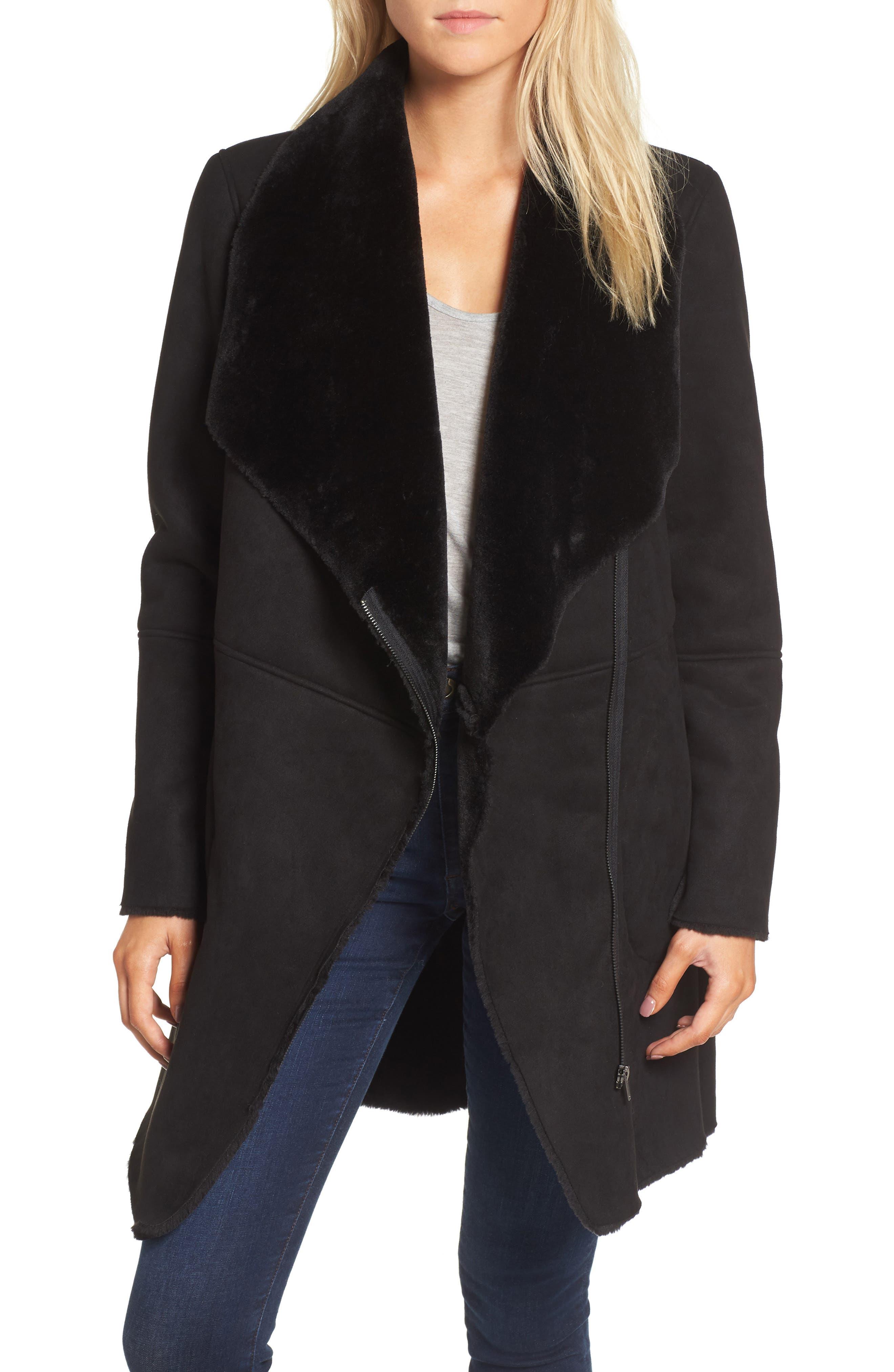 BB Dakota Keldon Faux Shearling Drape Collar Coat