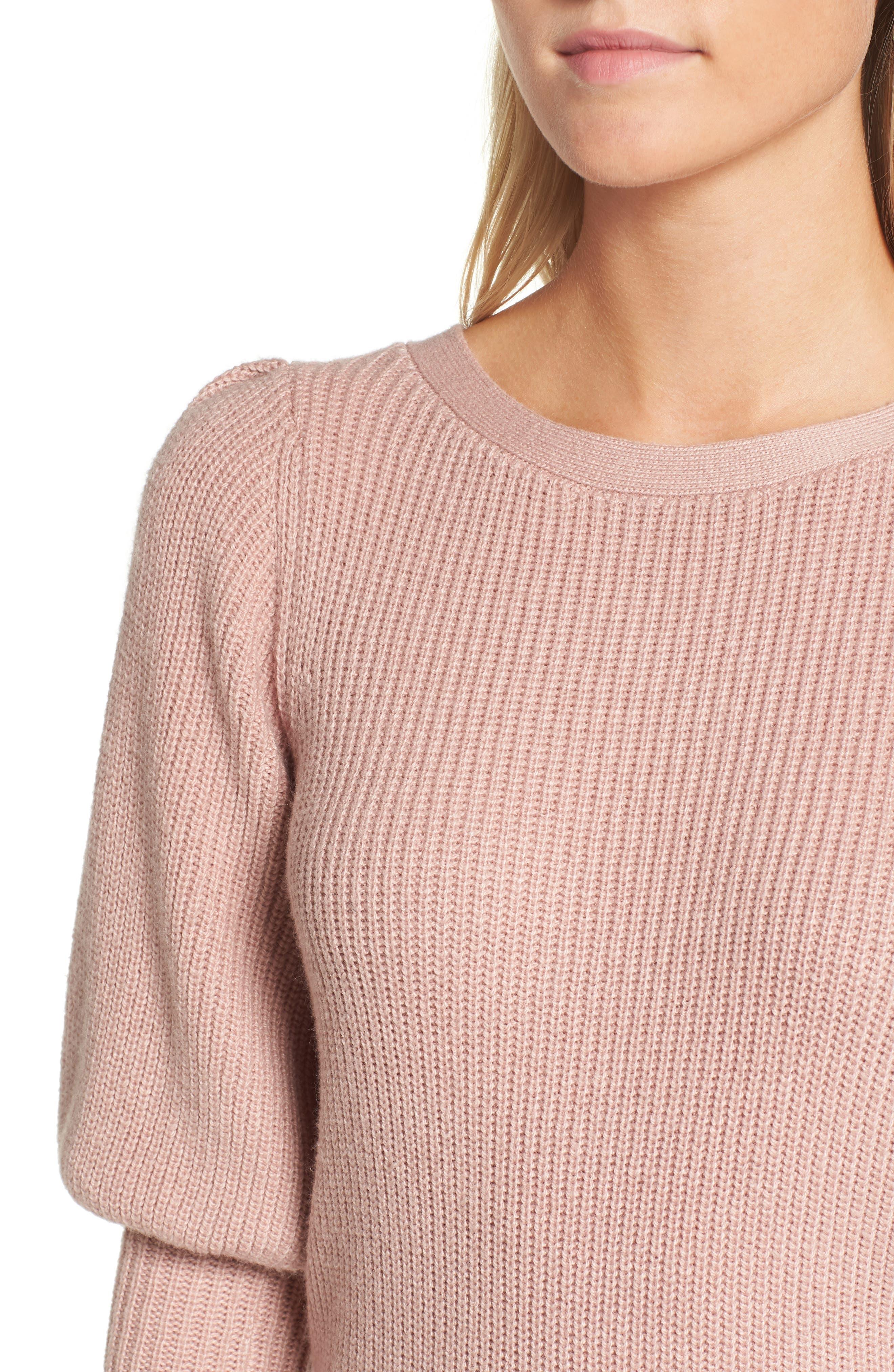 Puff Sleeve Sweatser,                             Alternate thumbnail 4, color,                             Pink Adobe