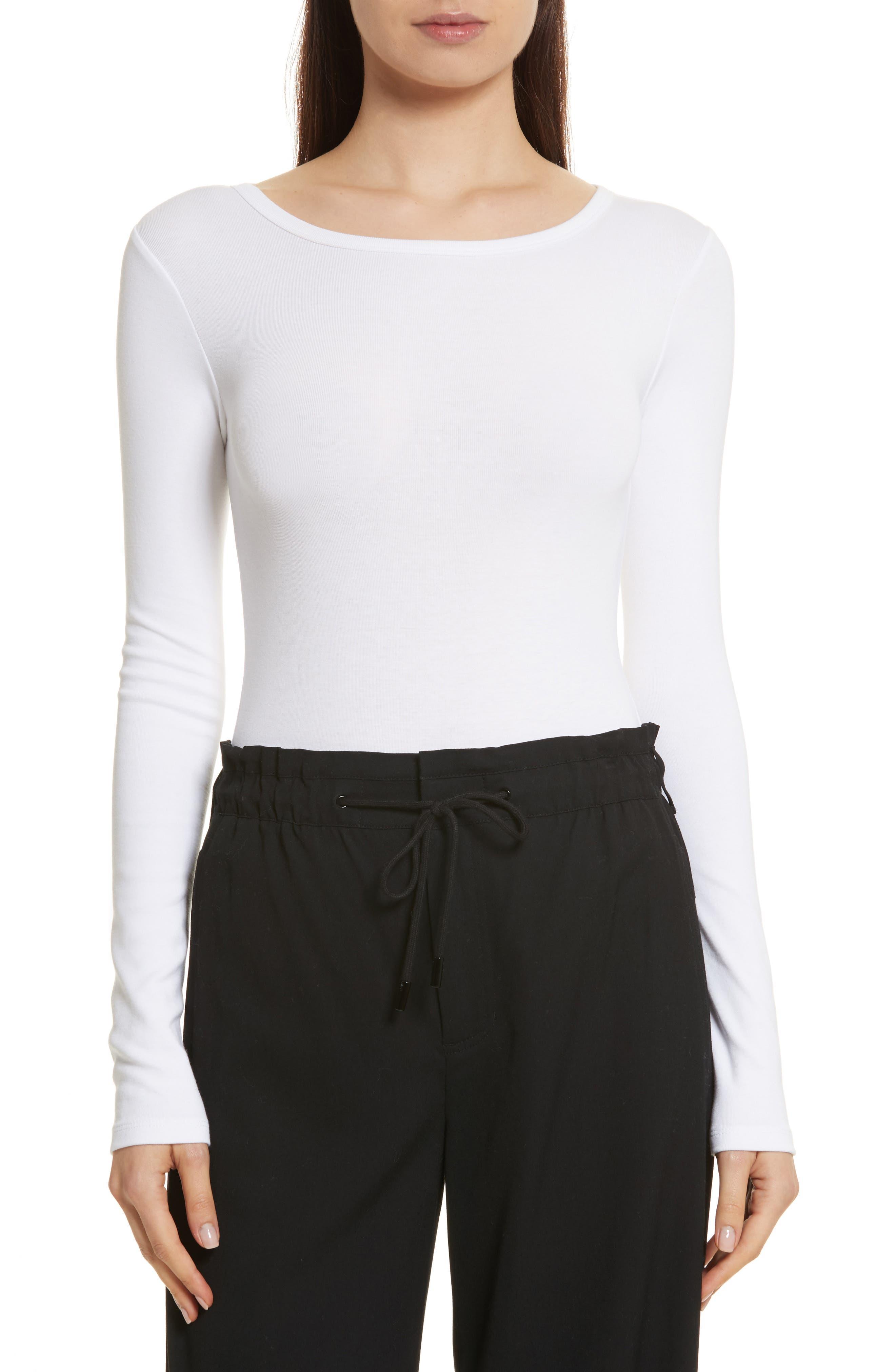 Stretch Cotton Bodysuit,                         Main,                         color, Optic White