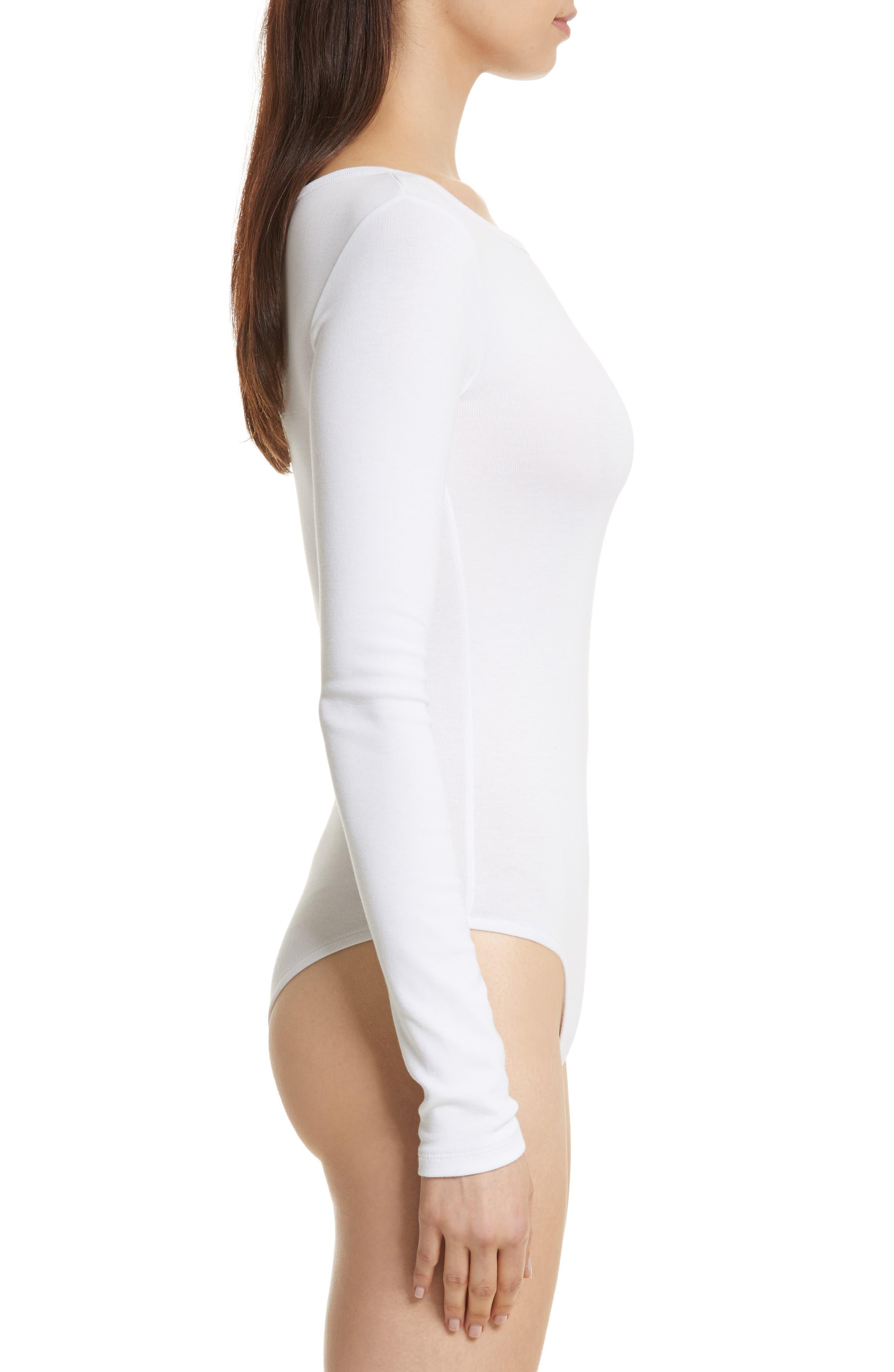 Stretch Cotton Bodysuit,                             Alternate thumbnail 3, color,                             Optic White