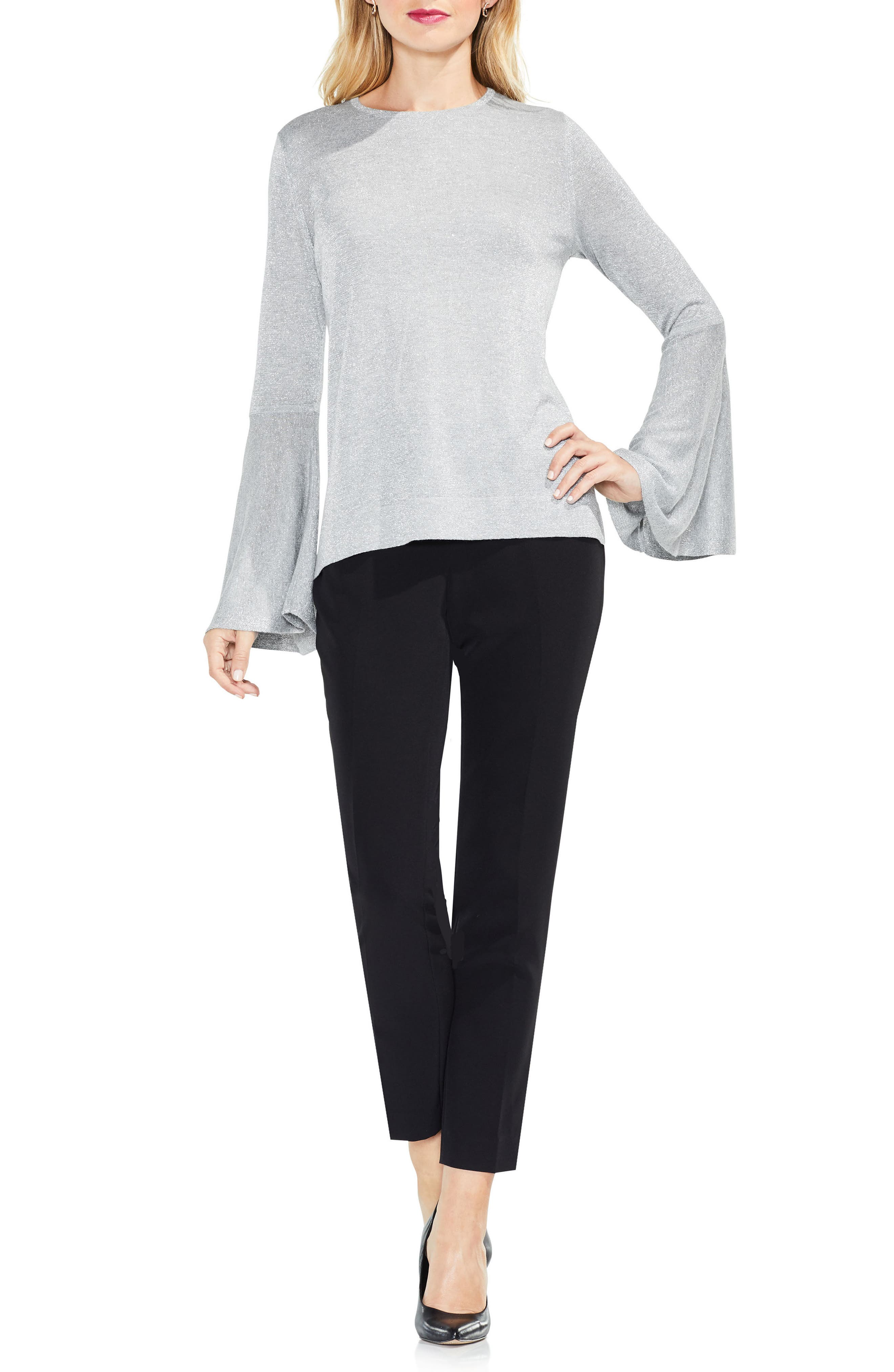 Bell Sleeve Sweater,                             Alternate thumbnail 3, color,                             Light Heather Grey