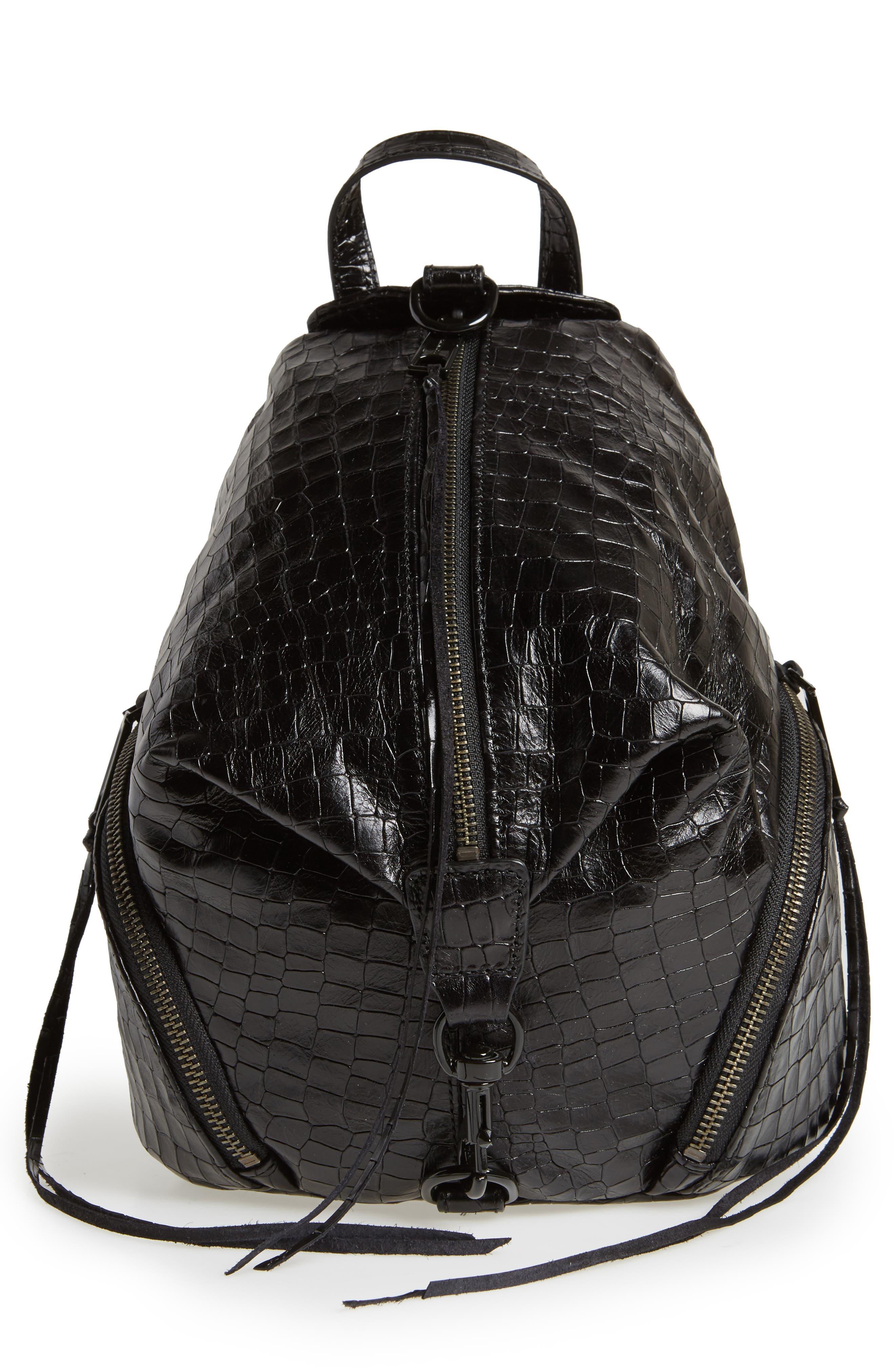 Rebecca Minkoff Medium Julian Croc Embossed Backpack