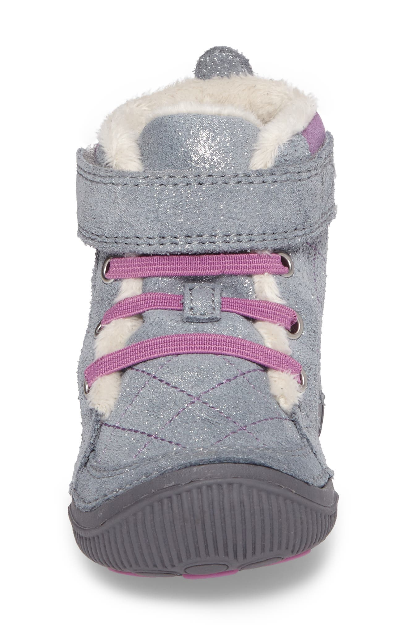 SRtech<sup>™</sup> Phoebe Faux Fur Boot,                             Alternate thumbnail 4, color,                             Grey Sparkle Suede