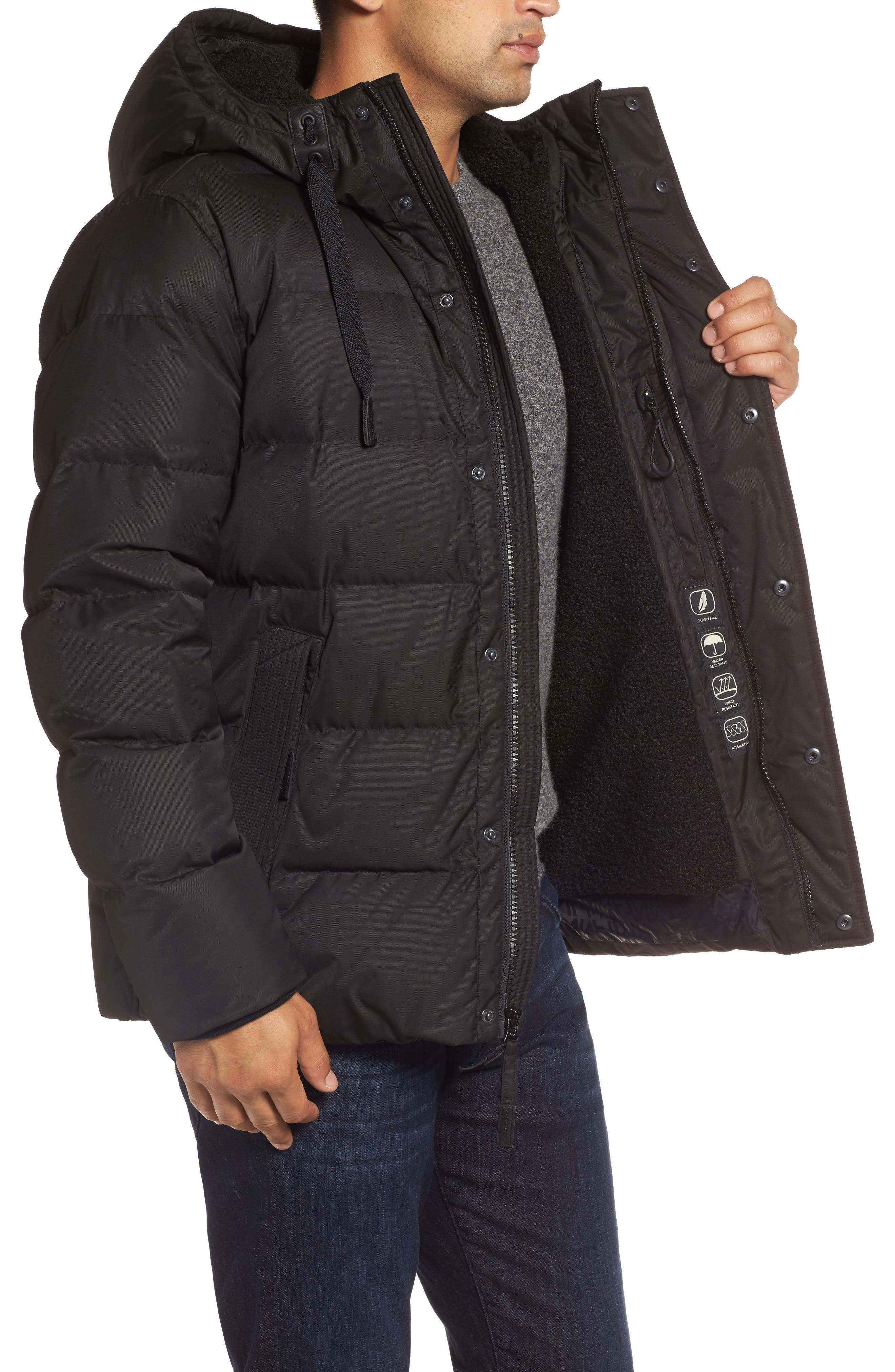 Groton Slim Down Jacket with Faux Shearling Lining,                             Alternate thumbnail 3, color,                             Black