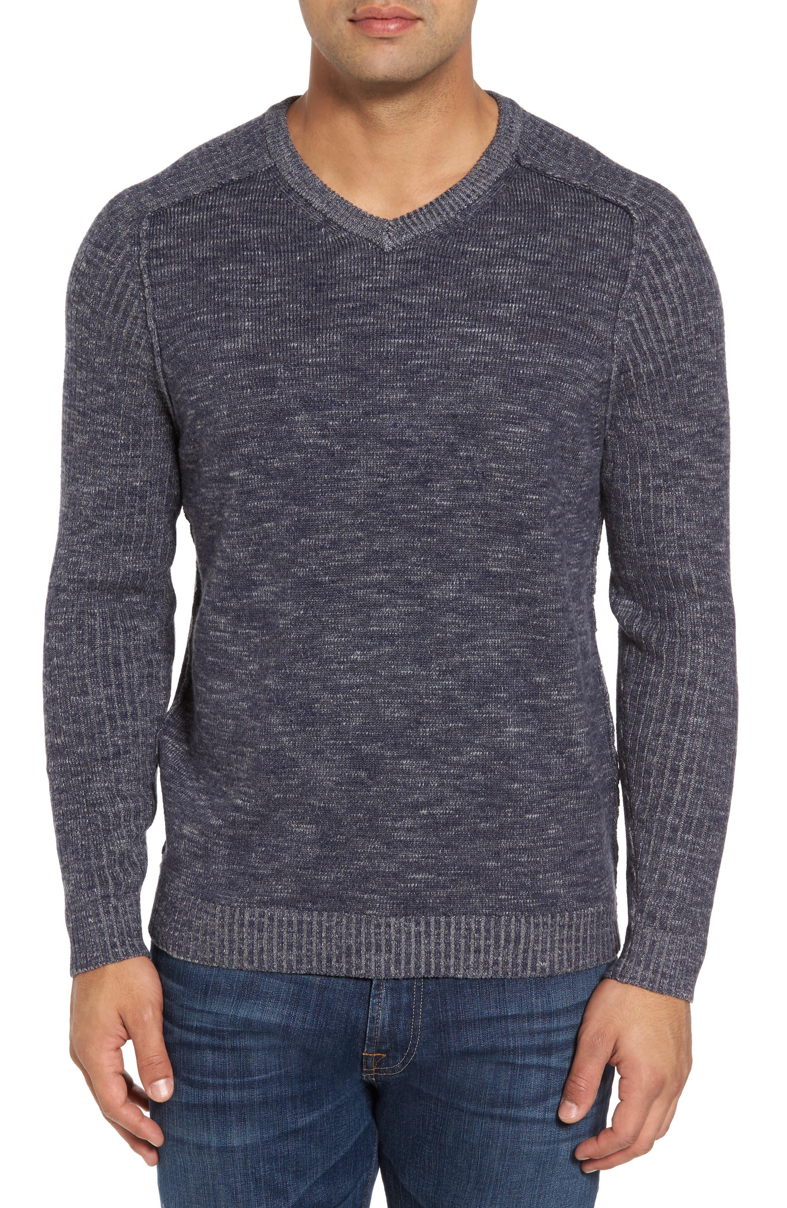 Gran Rey Flip Reversible Cotton & Wool Sweater,                         Main,                         color, Ocean Deep Heather