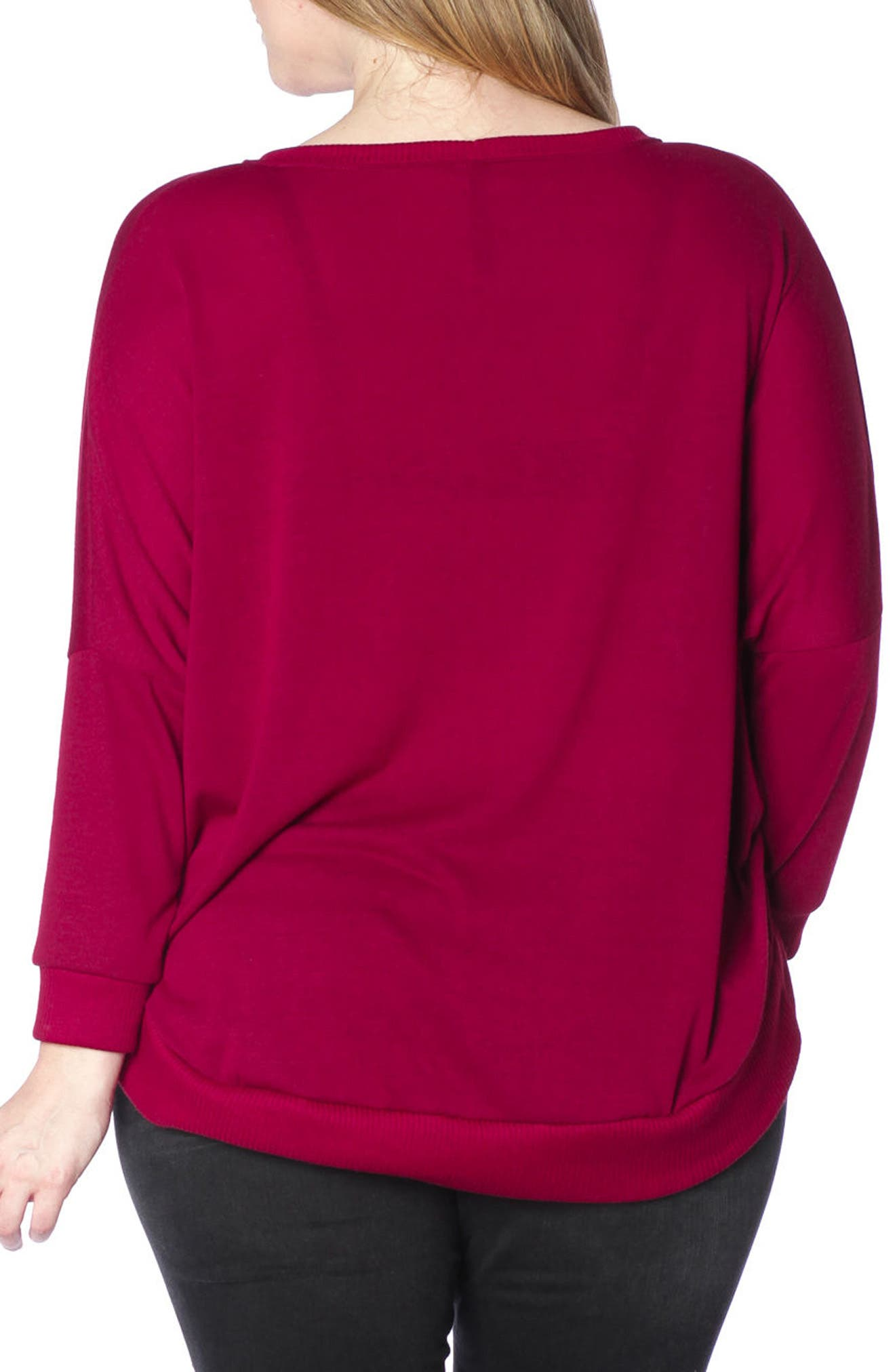 Dolman Sleeve Ribbed Pullover,                             Alternate thumbnail 2, color,                             Bordeaux