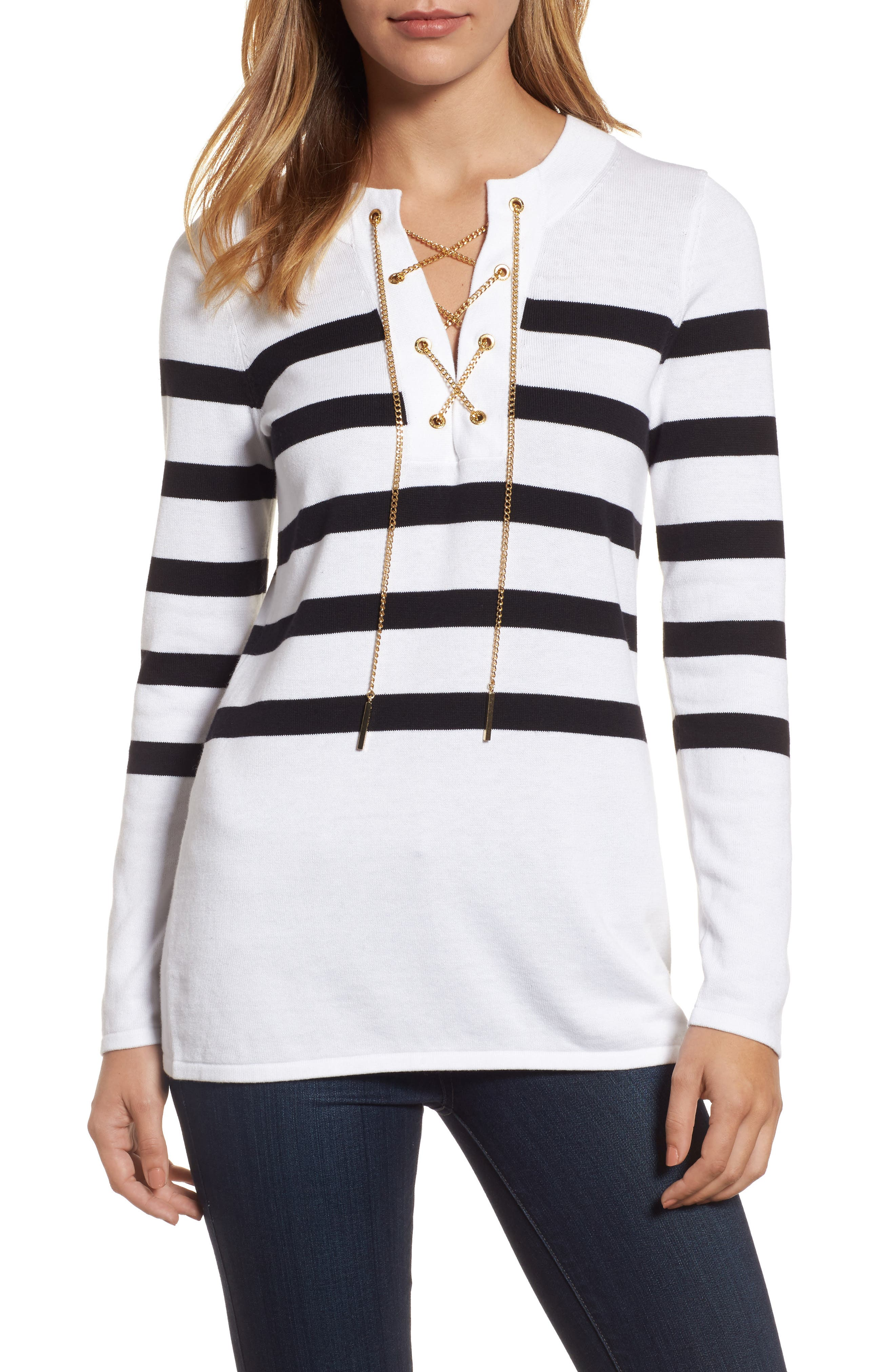 Laced Chain Tunic,                             Main thumbnail 1, color,                             White/ Black
