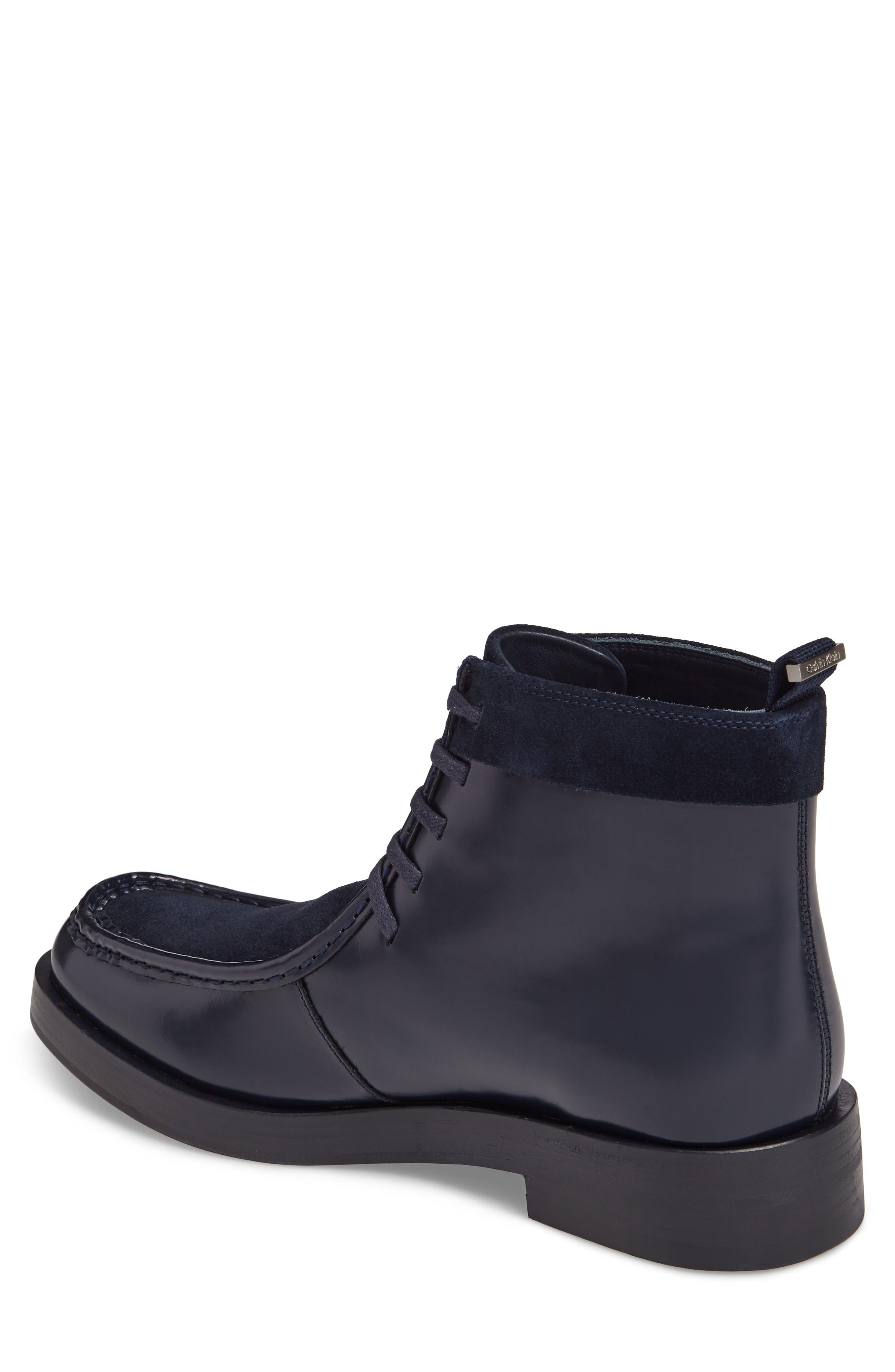 Rafi Moc Toe Boot,                             Alternate thumbnail 2, color,                             Dark Navy Leather