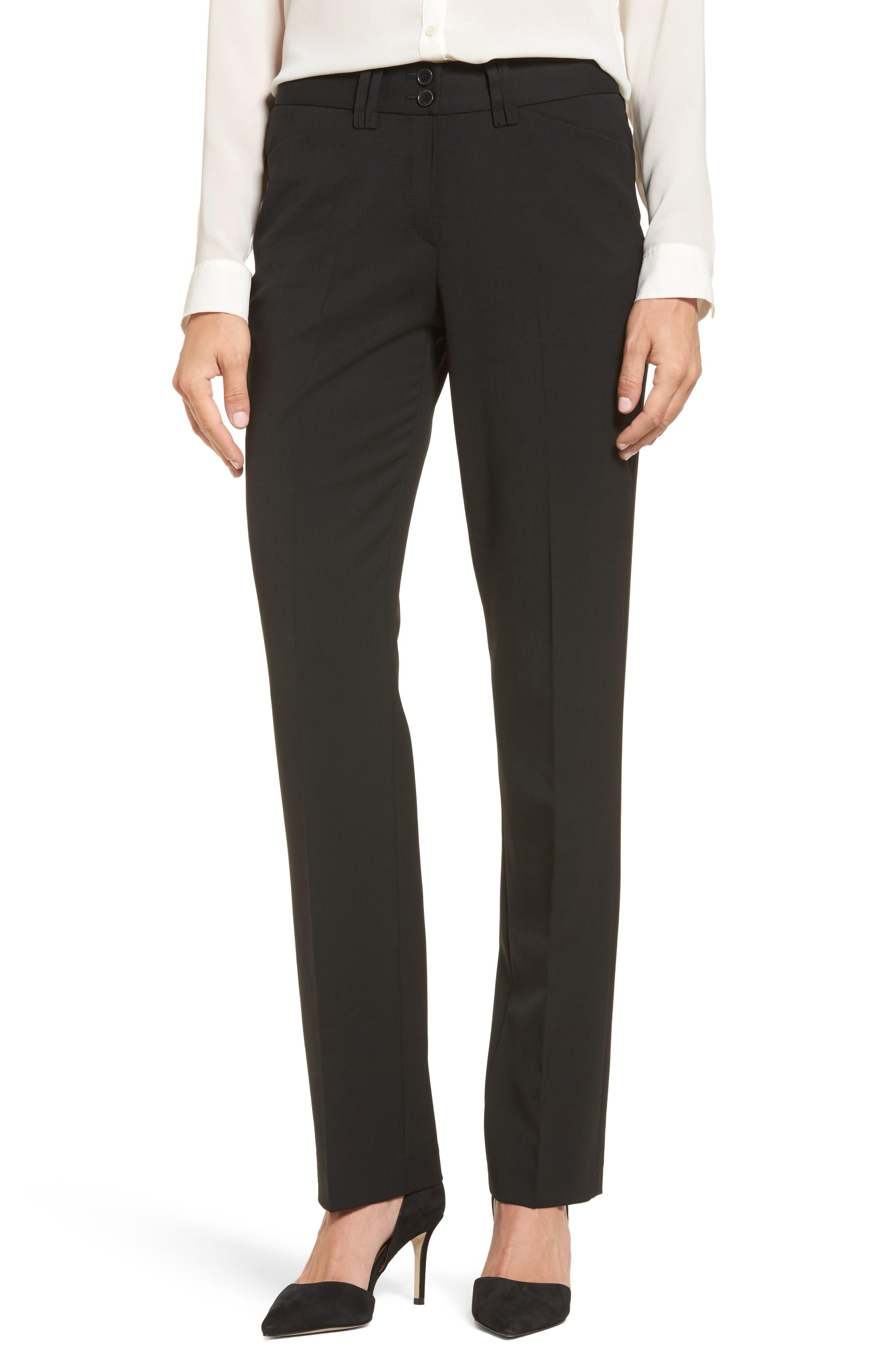 Straight Leg Trousers,                         Main,                         color, Black