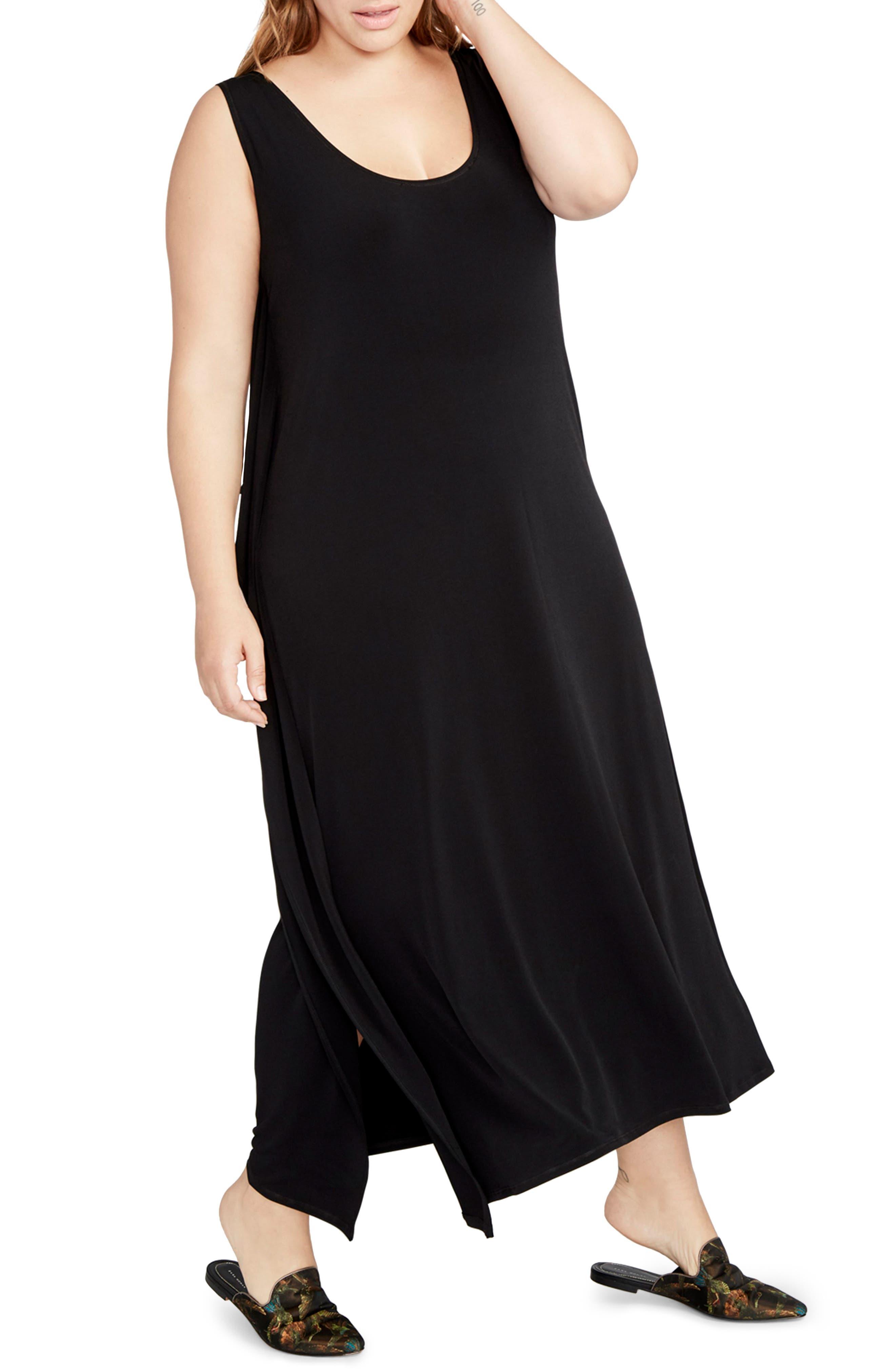 Side Drape Maxi Dress,                         Main,                         color, Black