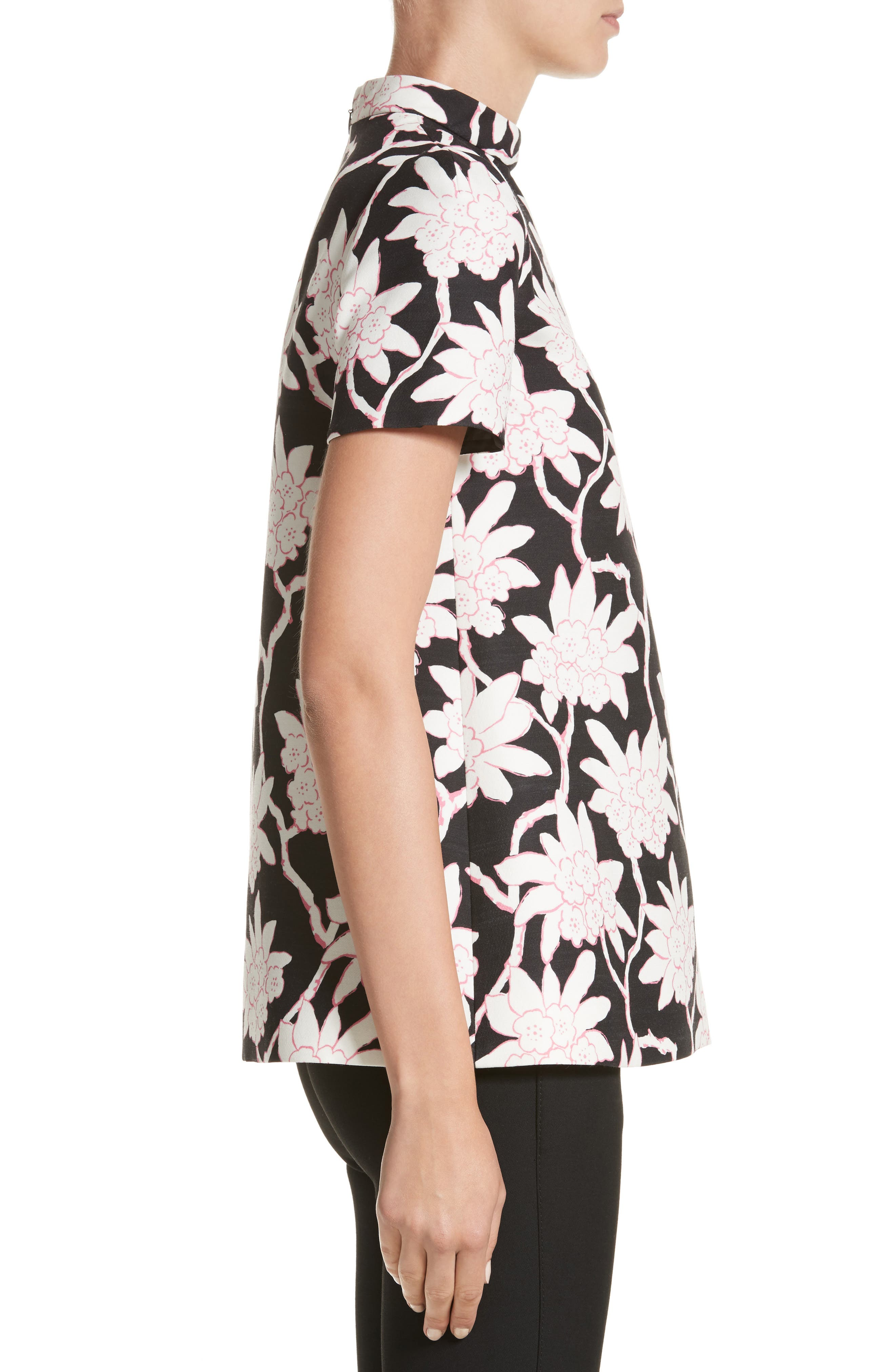 Rhododendron Print Wool & Silk Top,                             Alternate thumbnail 3, color,                             Black