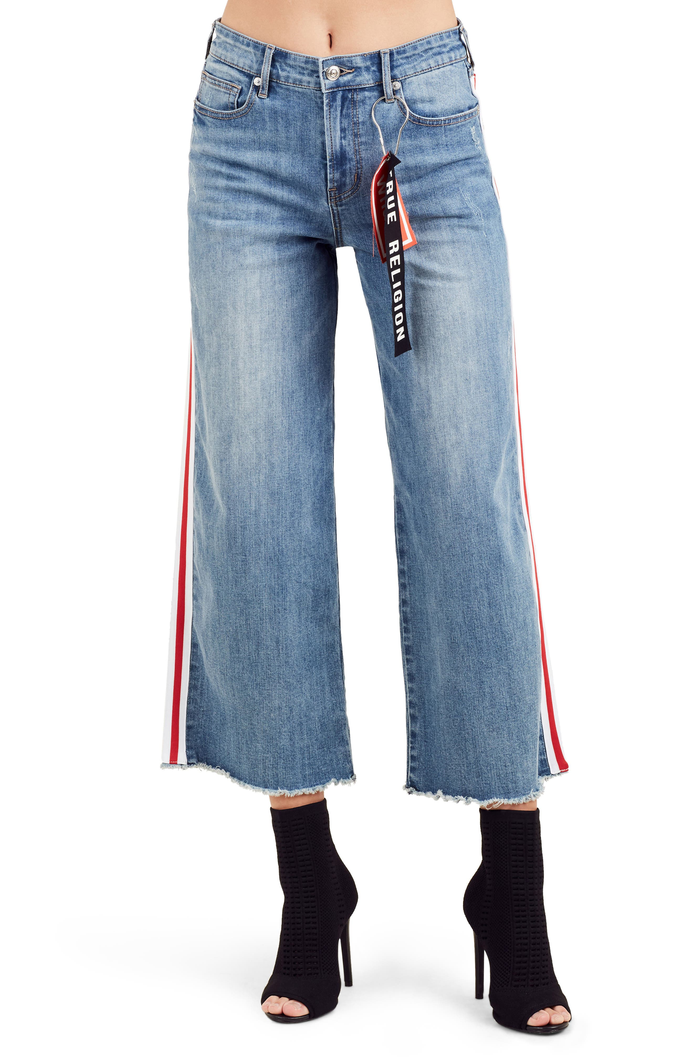 True Religion Athletic Stovepipe Crop Wide Leg Jeans (Wishing Well)